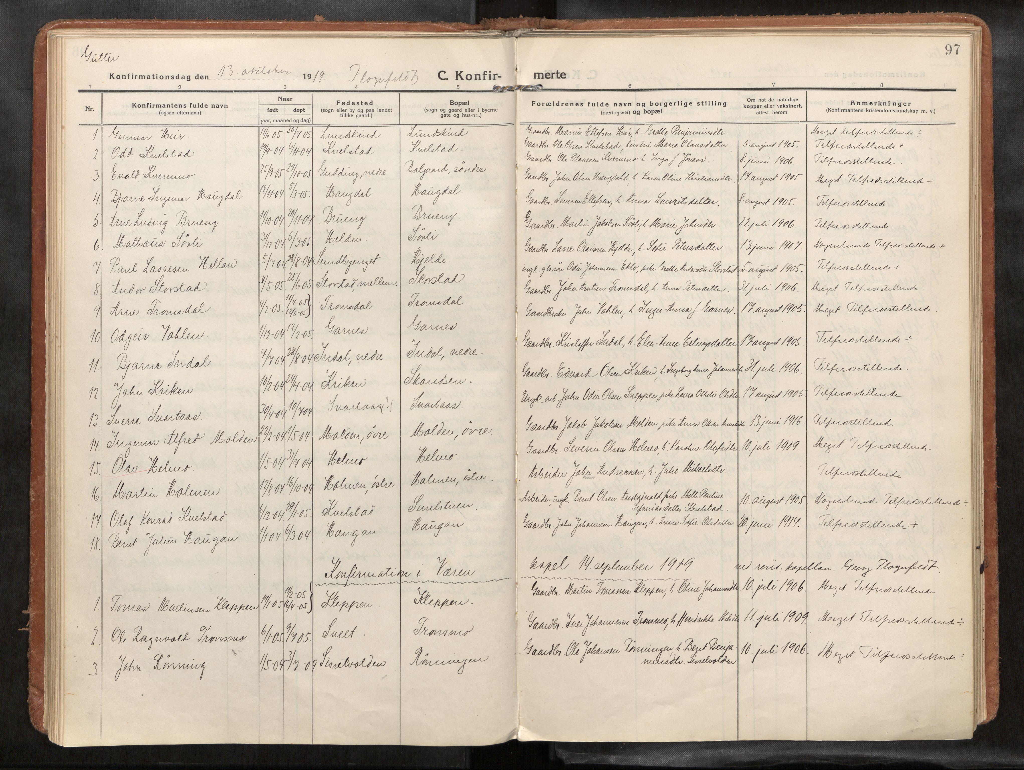 SAT, Verdal sokneprestkontor*, Parish register (official) no. 1, 1916-1928, p. 97