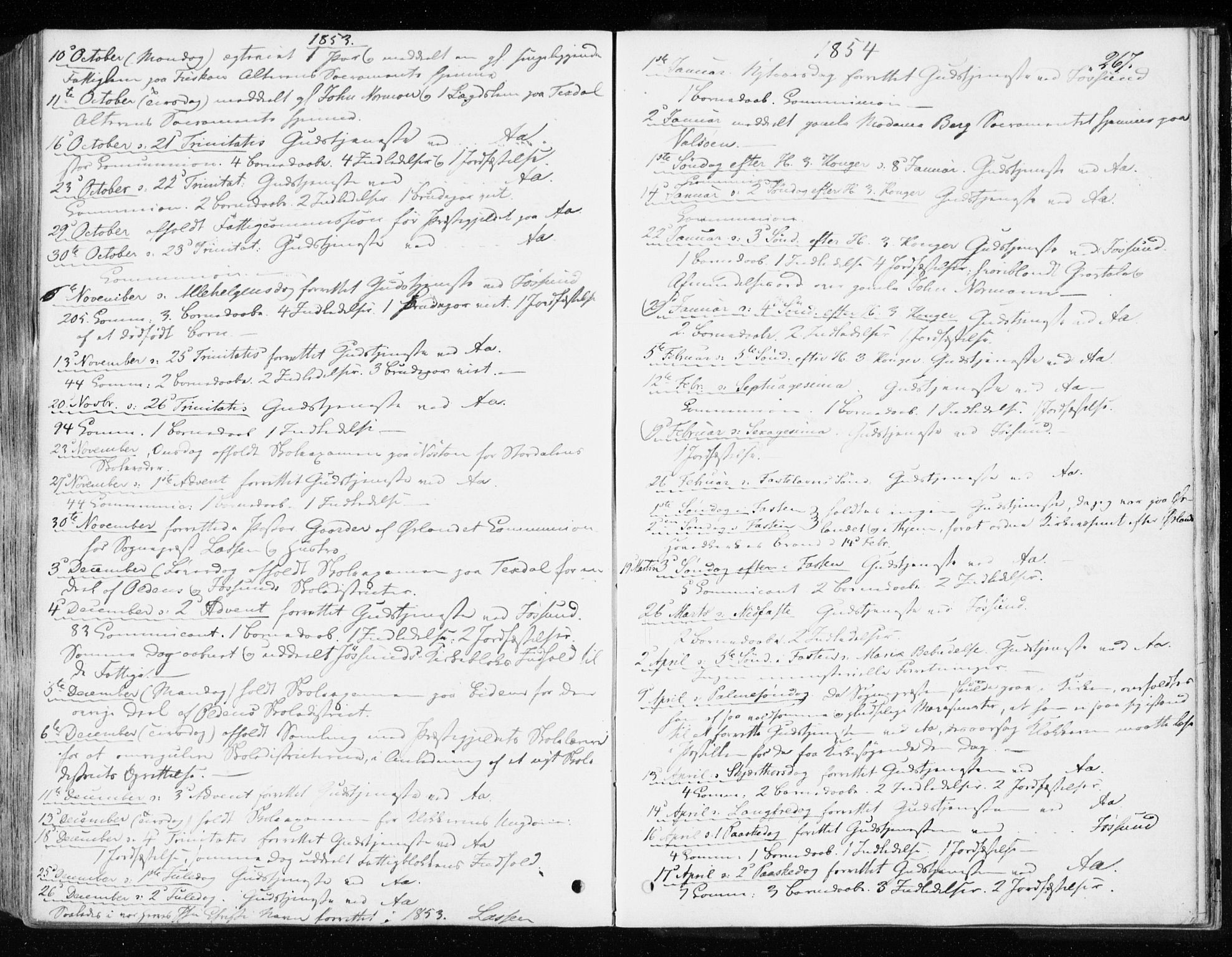 SAT, Ministerialprotokoller, klokkerbøker og fødselsregistre - Sør-Trøndelag, 655/L0677: Parish register (official) no. 655A06, 1847-1860, p. 267