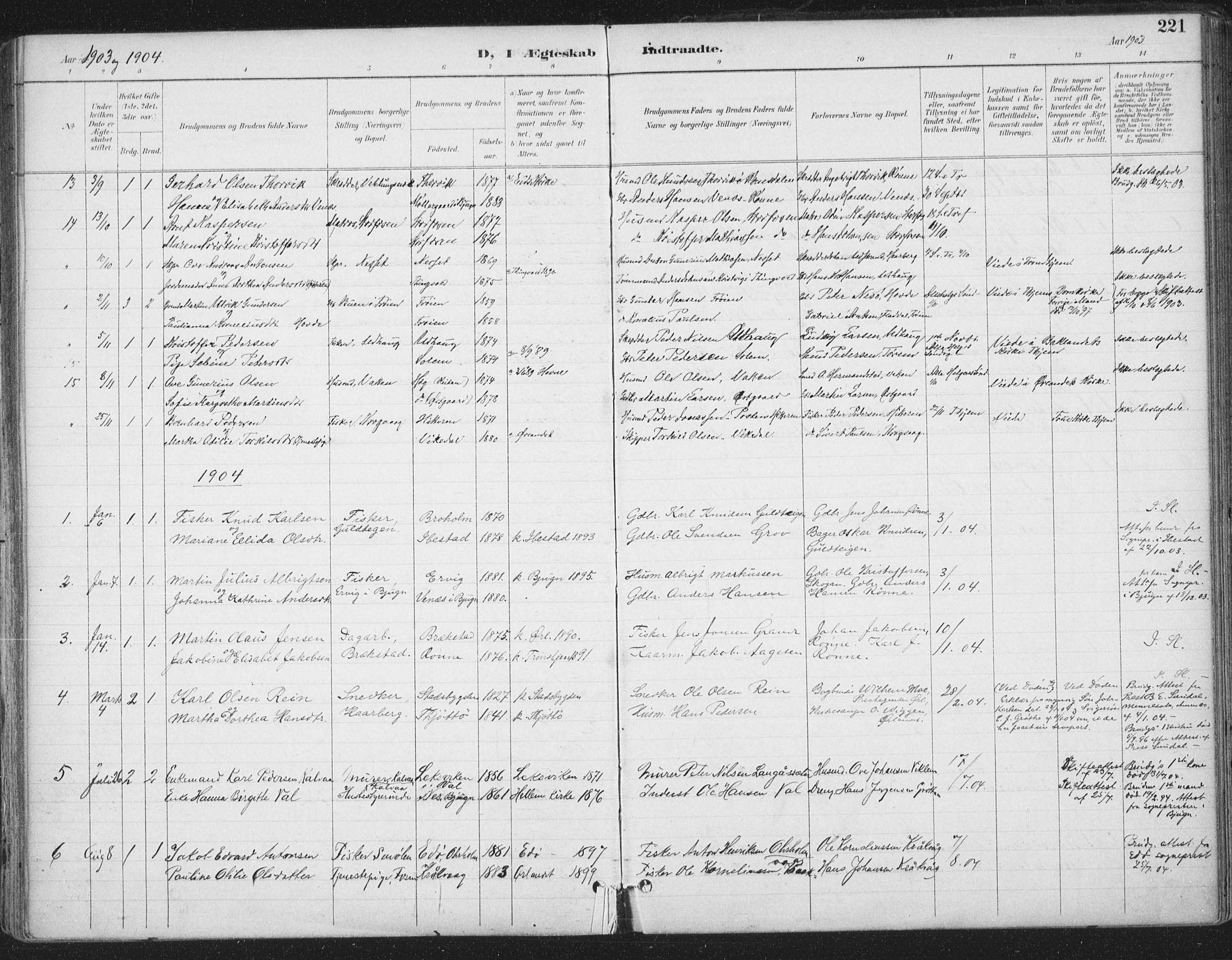 SAT, Ministerialprotokoller, klokkerbøker og fødselsregistre - Sør-Trøndelag, 659/L0743: Parish register (official) no. 659A13, 1893-1910, p. 221