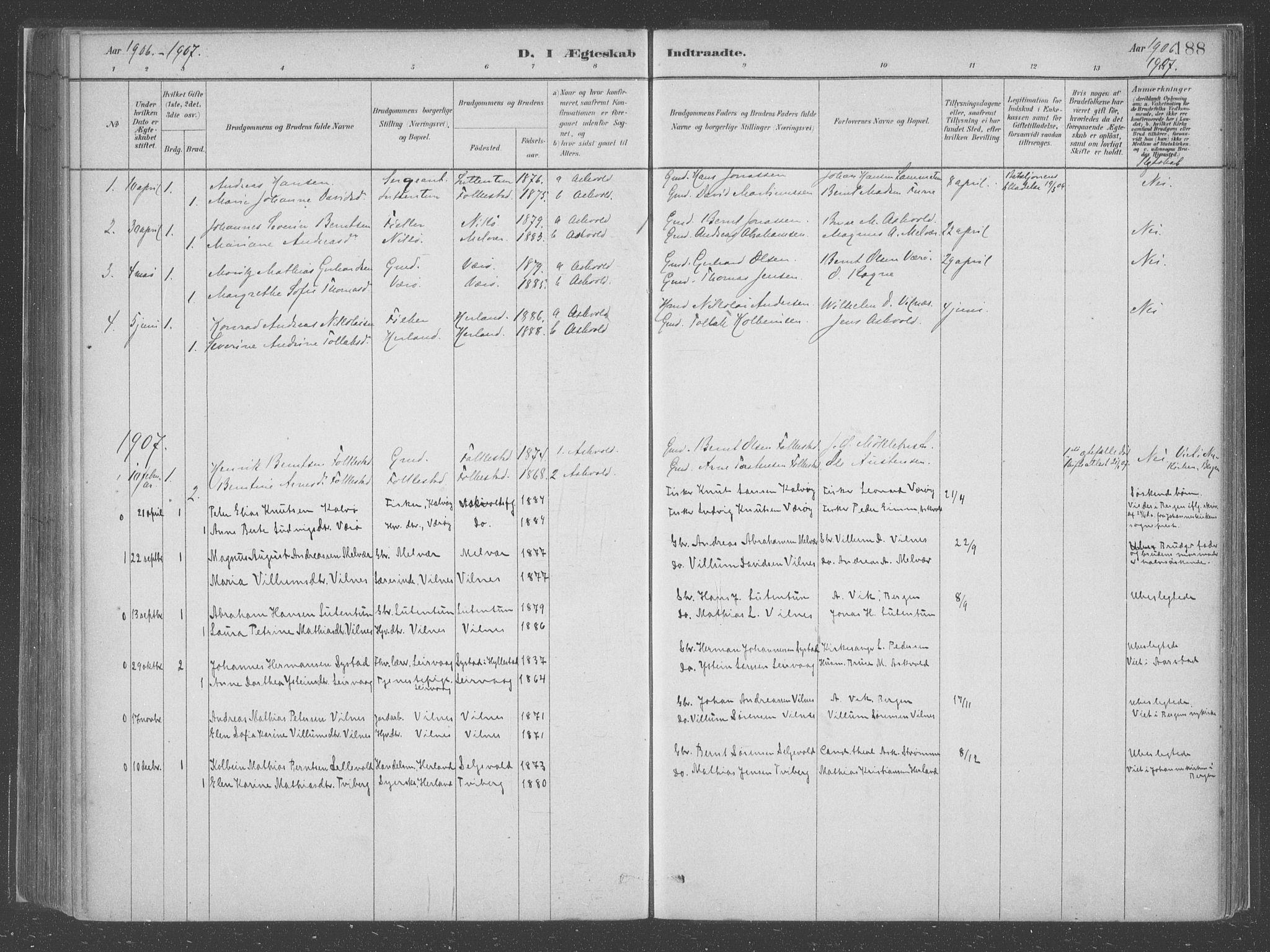 SAB, Askvoll Sokneprestembete, Parish register (official) no. C  1, 1879-1922, p. 188