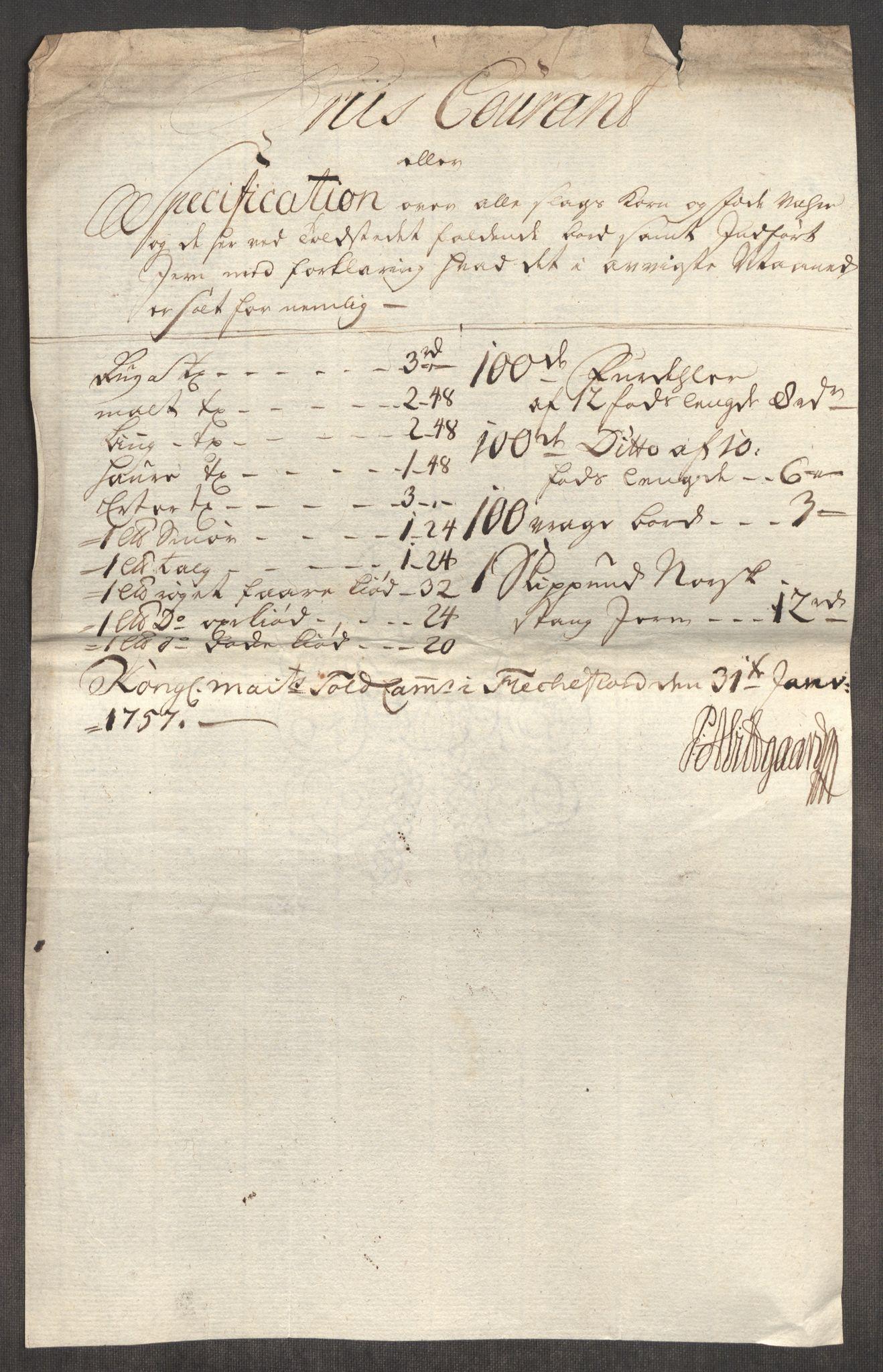 RA, Rentekammeret inntil 1814, Realistisk ordnet avdeling, Oe/L0005: [Ø1]: Priskuranter, 1753-1757, p. 937