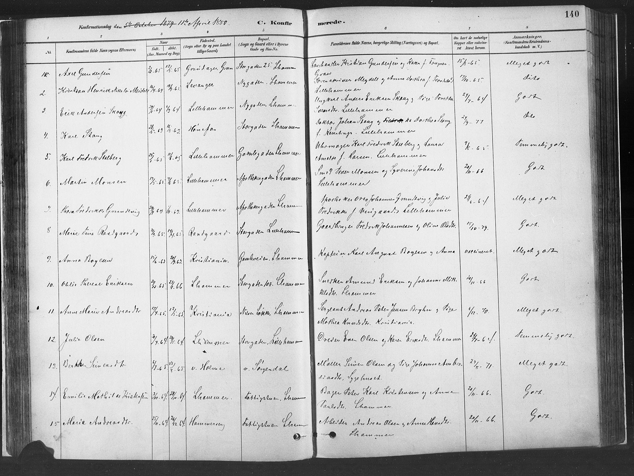 SAH, Fåberg prestekontor, H/Ha/Haa/L0010: Parish register (official) no. 10, 1879-1900, p. 140