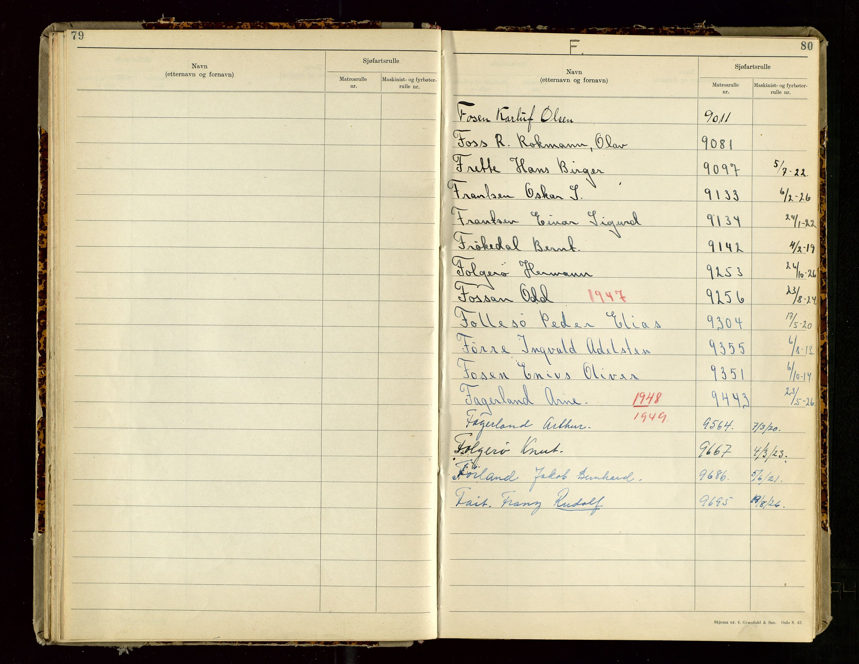 SAST, Haugesund sjømannskontor, F/Fb/Fba/L0007: Navneregister med henvisning til rullenummer (etternavn) Haugesund krets , 1944, p. 80