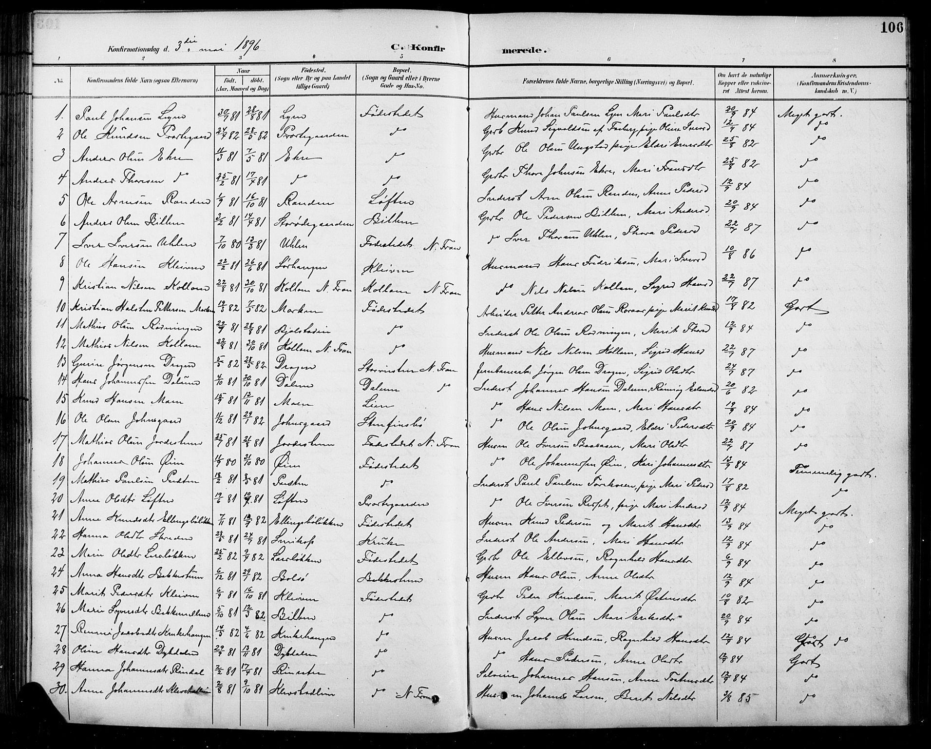 SAH, Sel prestekontor, Parish register (copy) no. 5, 1894-1923, p. 106
