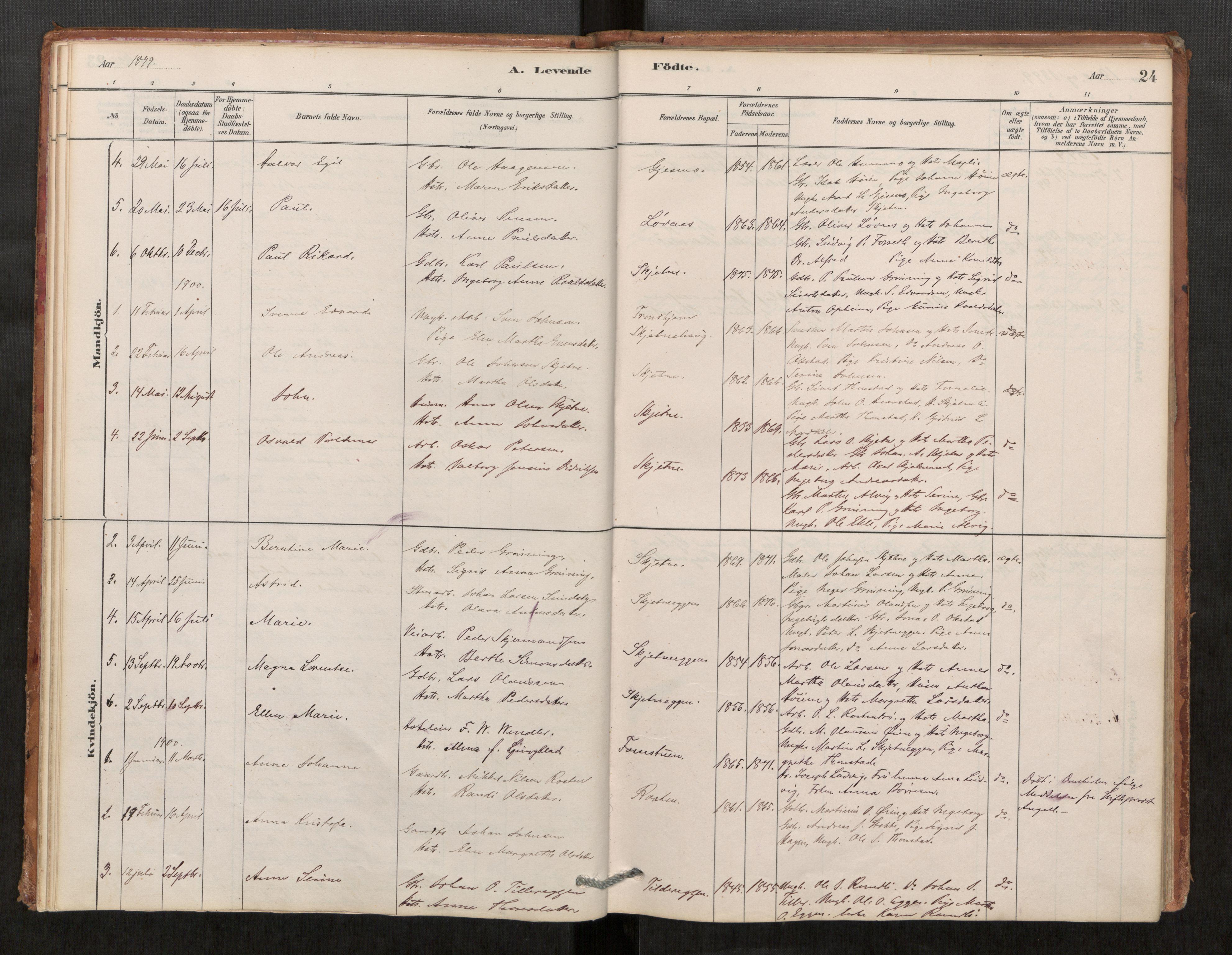 SAT, Klæbu sokneprestkontor, Parish register (official) no. 1, 1880-1900, p. 24