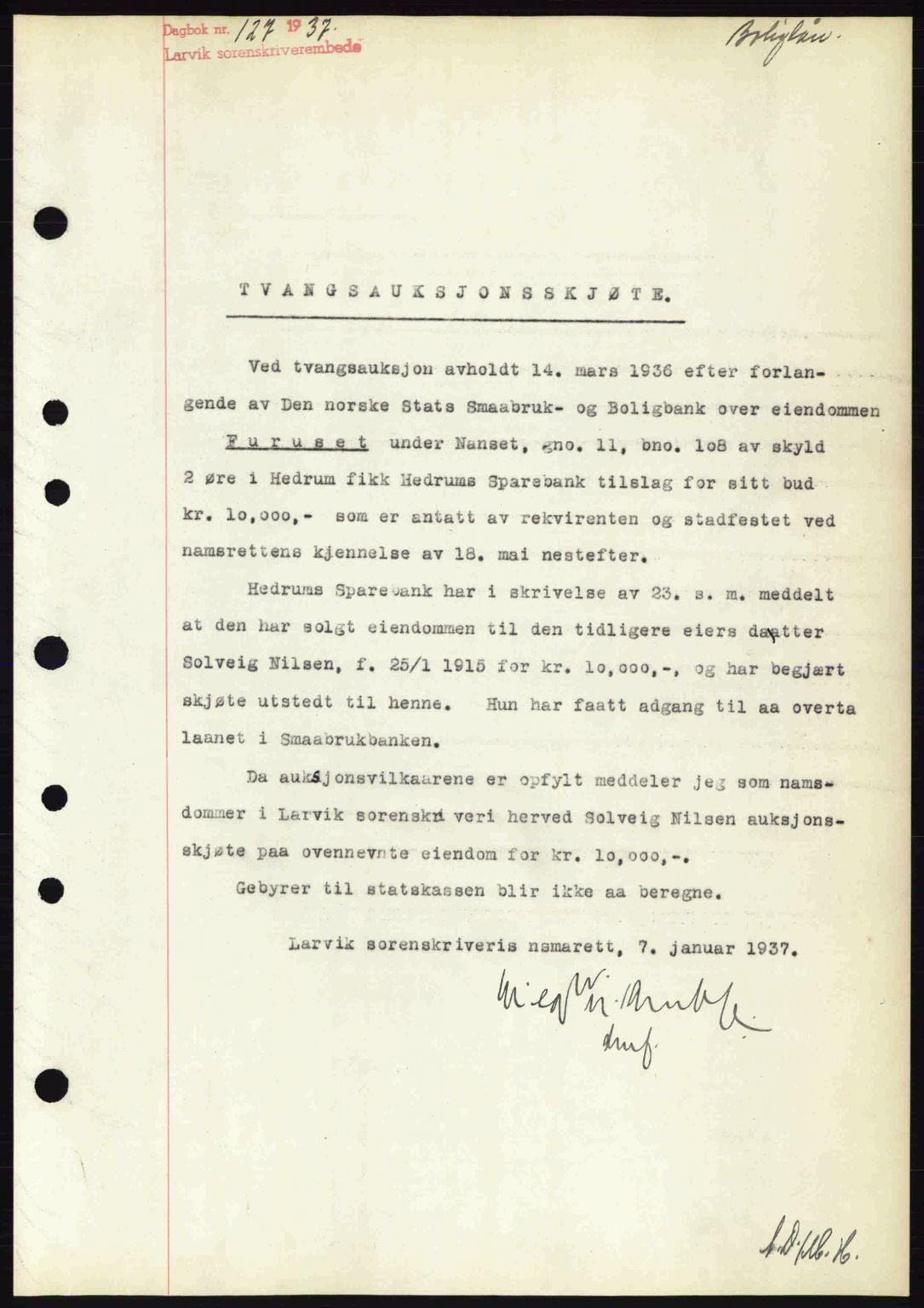 SAKO, Larvik sorenskriveri, G/Ga/Gab/L0067: Mortgage book no. A-1, 1936-1937, Diary no: : 127/1937