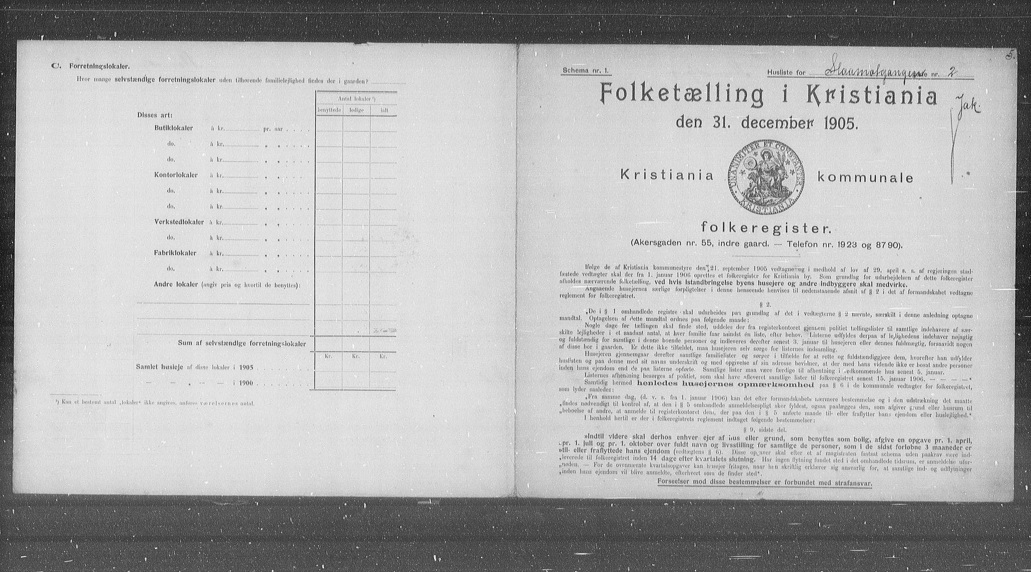 OBA, Municipal Census 1905 for Kristiania, 1905, p. 50294