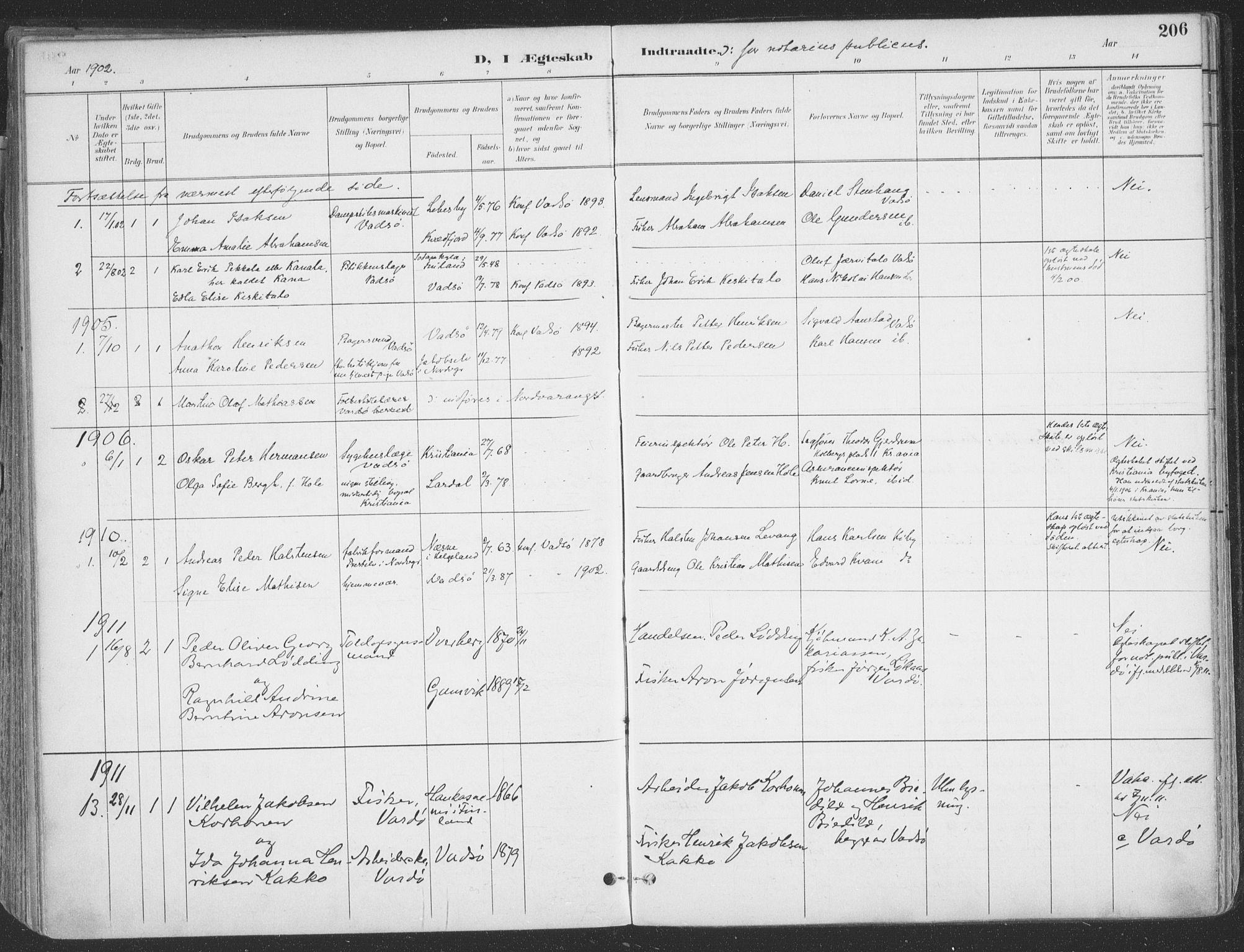 SATØ, Vadsø sokneprestkontor, H/Ha/L0007kirke: Parish register (official) no. 7, 1896-1916, p. 206