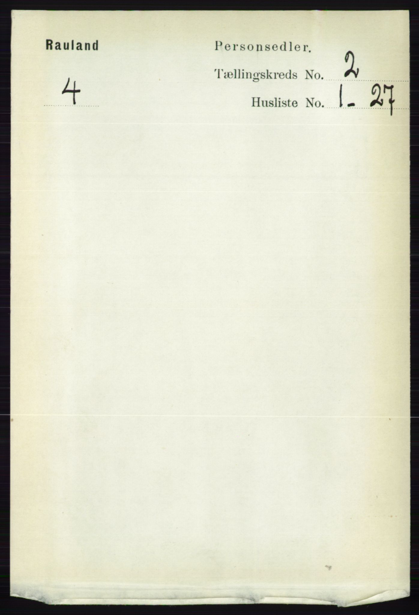 RA, 1891 census for 0835 Rauland, 1891, p. 255