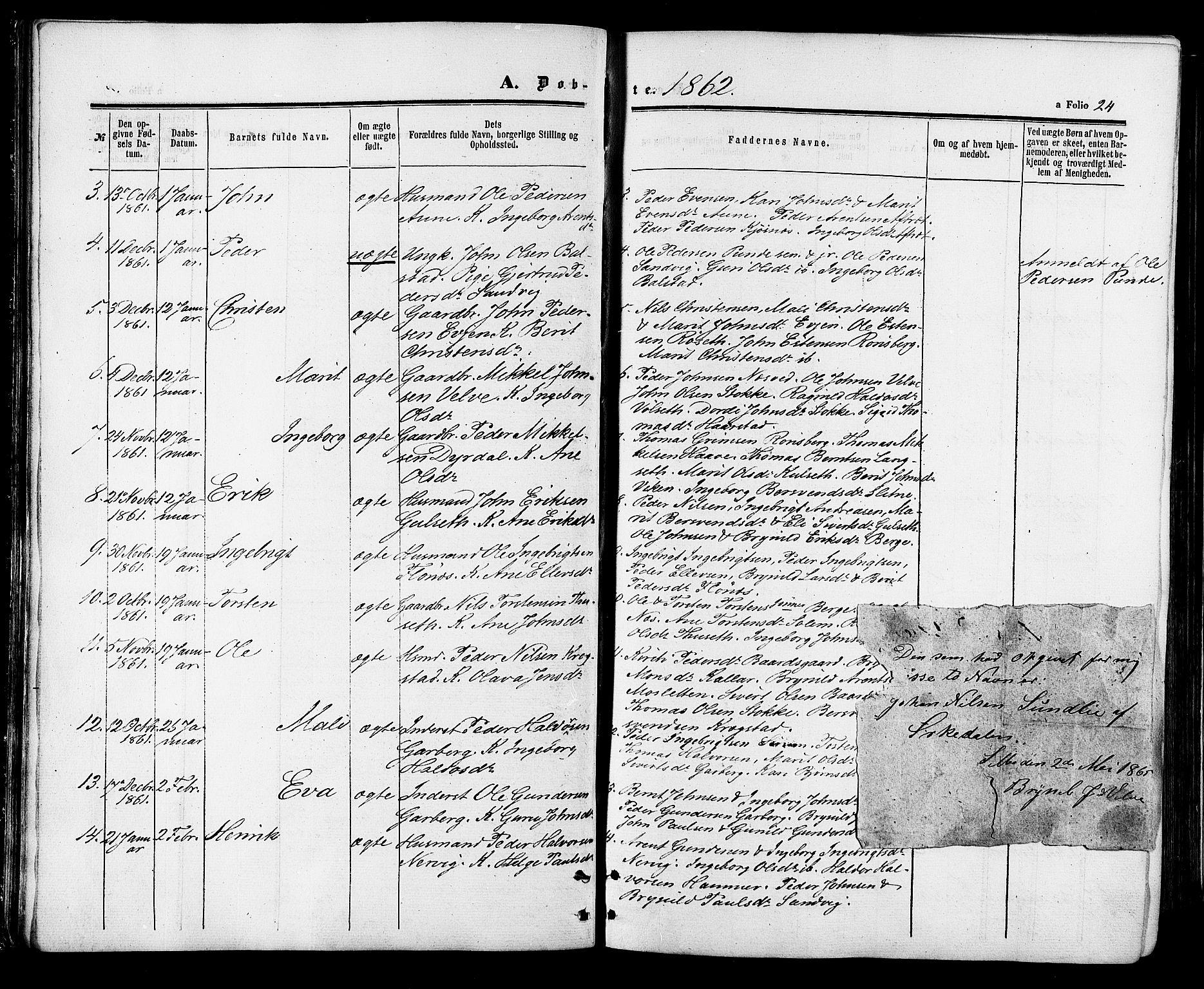 SAT, Ministerialprotokoller, klokkerbøker og fødselsregistre - Sør-Trøndelag, 695/L1147: Parish register (official) no. 695A07, 1860-1877, p. 24