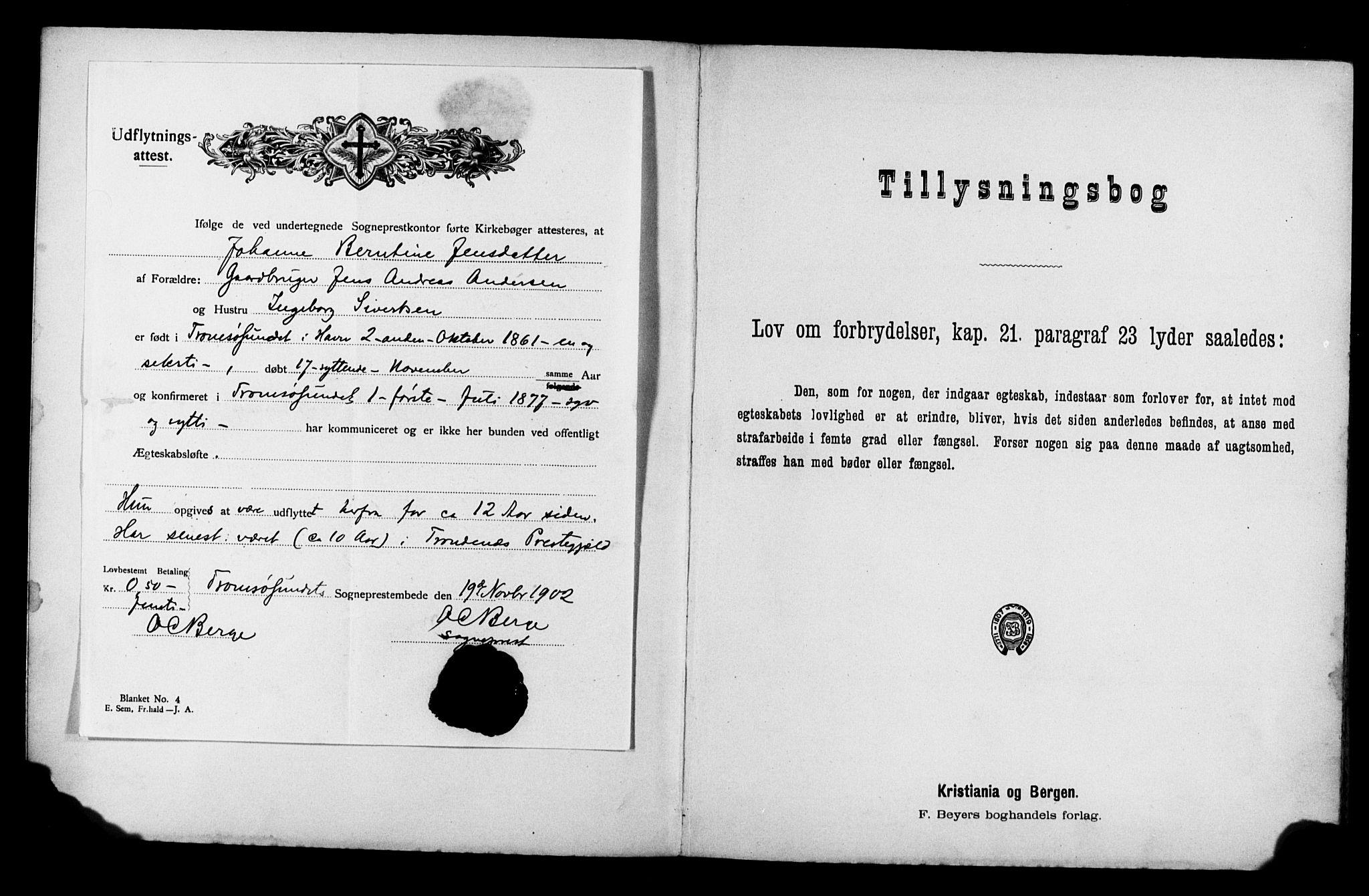 SATØ, Balsfjord sokneprestembete, Banns register no. 31, 1897-1906
