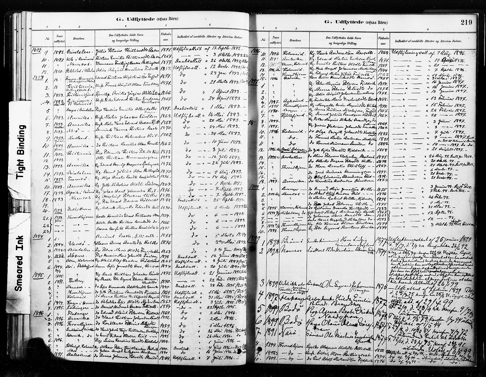 SAT, Ministerialprotokoller, klokkerbøker og fødselsregistre - Nord-Trøndelag, 789/L0705: Parish register (official) no. 789A01, 1878-1910, p. 219