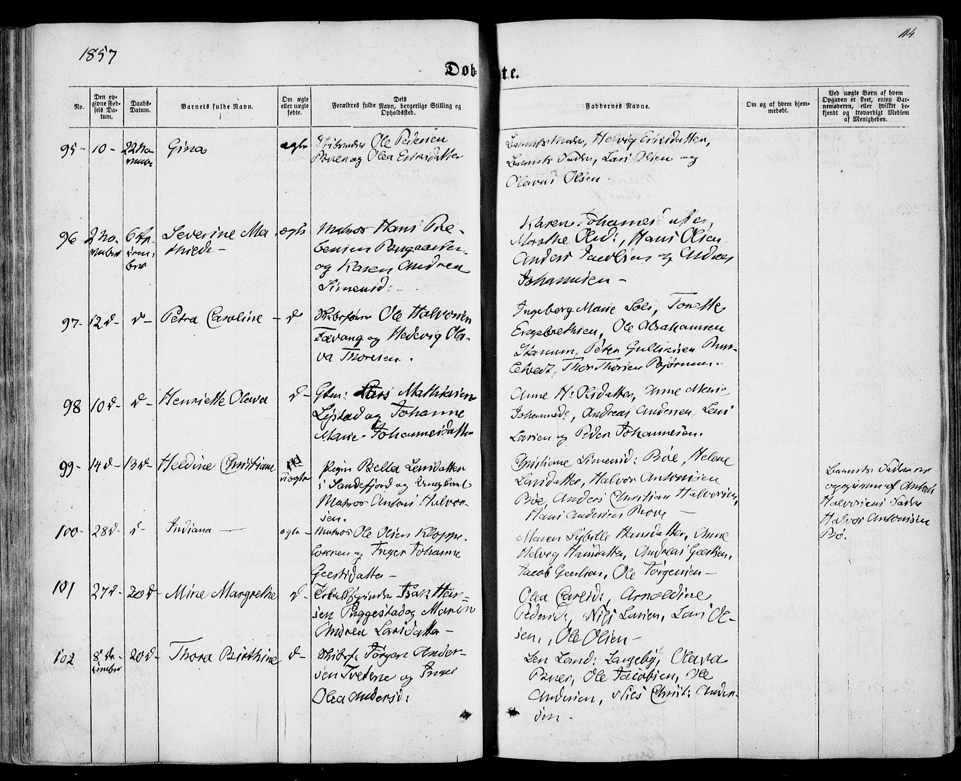 SAKO, Sandar kirkebøker, F/Fa/L0007: Parish register (official) no. 7, 1855-1861, p. 114
