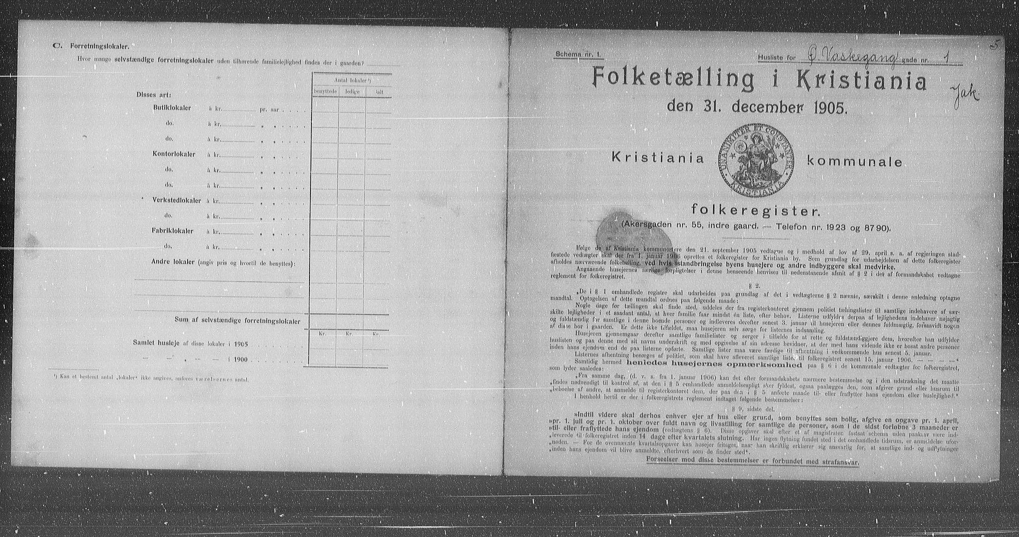OBA, Municipal Census 1905 for Kristiania, 1905, p. 68354
