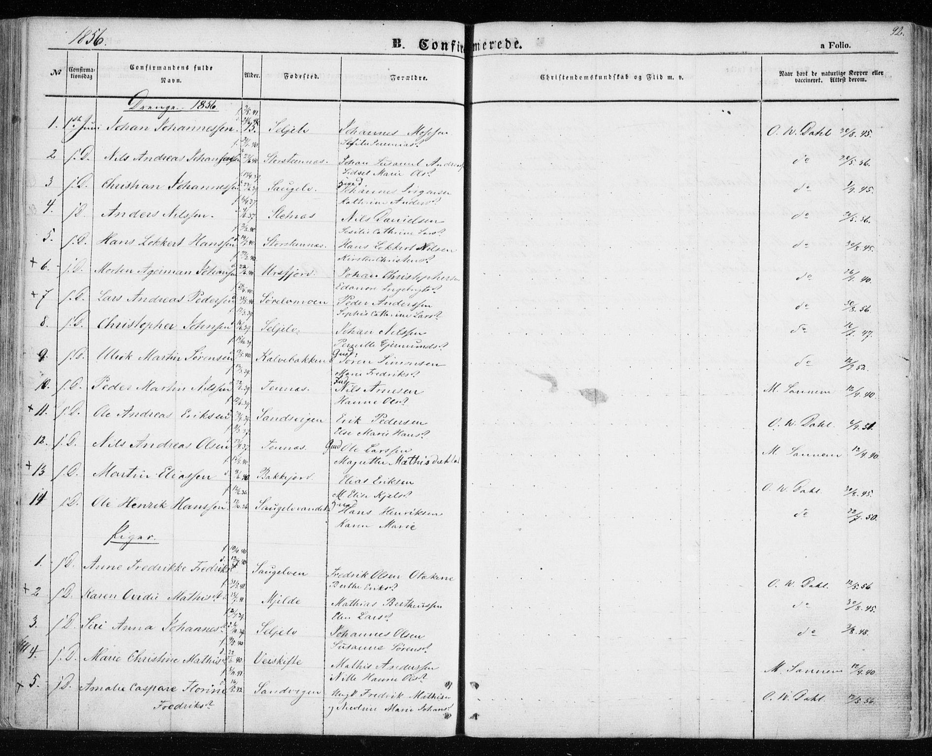 SATØ, Balsfjord sokneprestembete, Parish register (official) no. 3, 1856-1870, p. 92