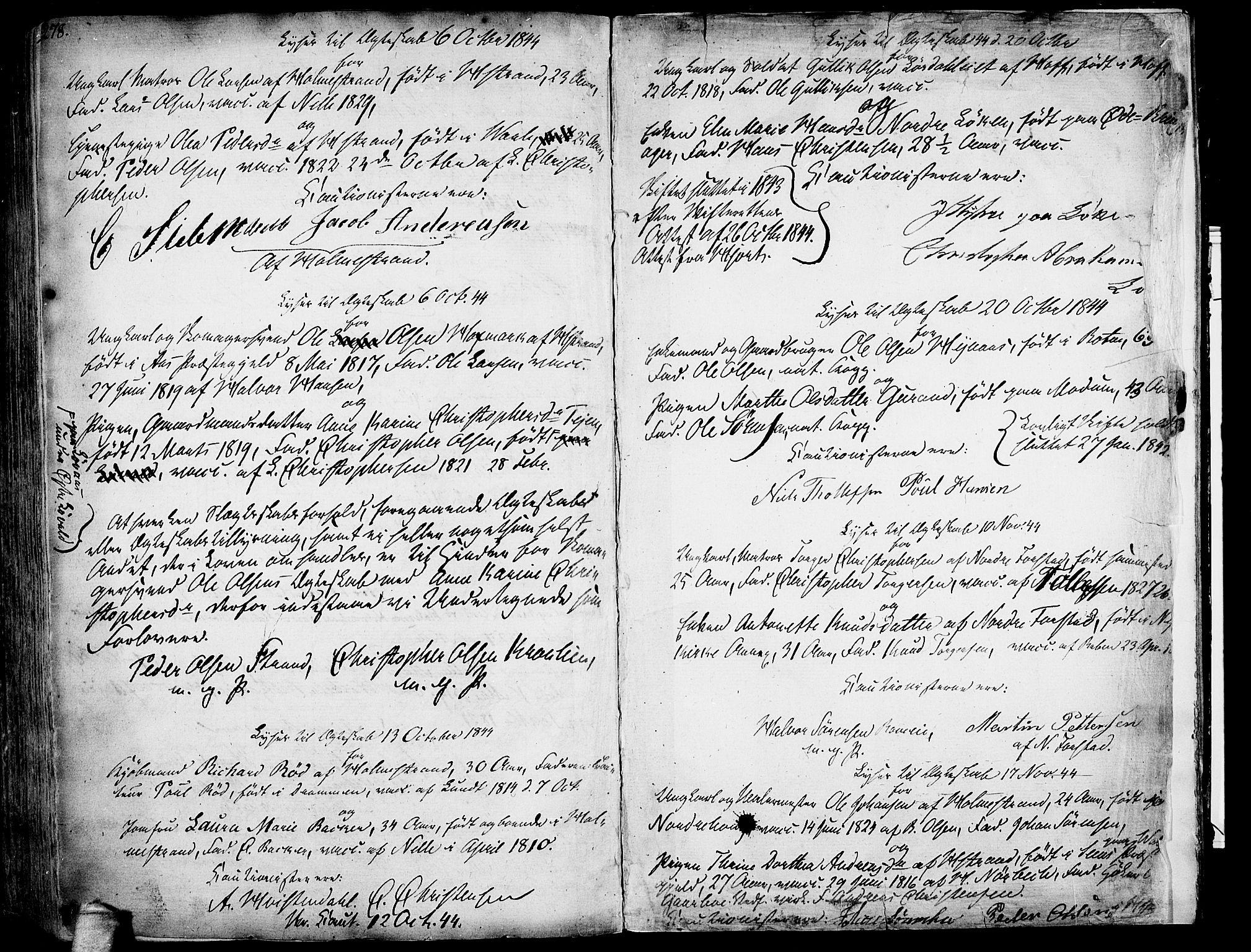 SAKO, Botne kirkebøker, F/Fa/L0003: Parish register (official) no. I 3 /1, 1792-1844, p. 278-279