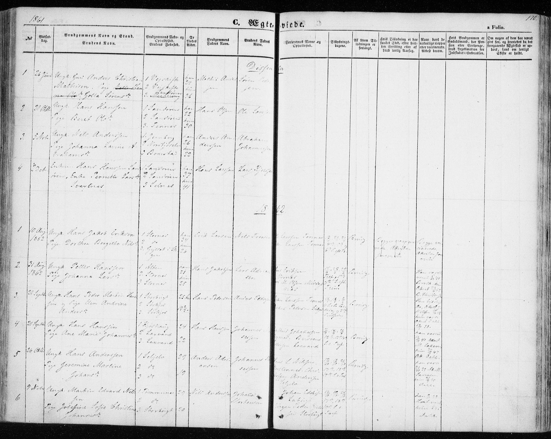 SATØ, Balsfjord sokneprestembete, Parish register (official) no. 3, 1856-1870, p. 170
