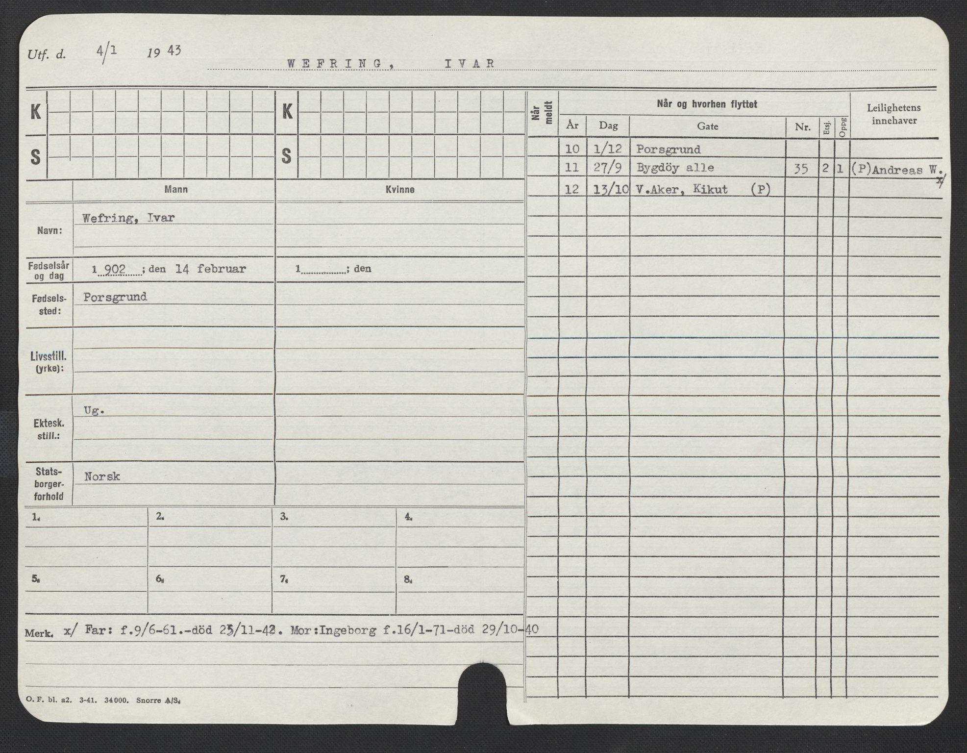 SAO, Oslo folkeregister, Registerkort, F/Fa/Fac/L0011: Menn, 1906-1914, p. 652a