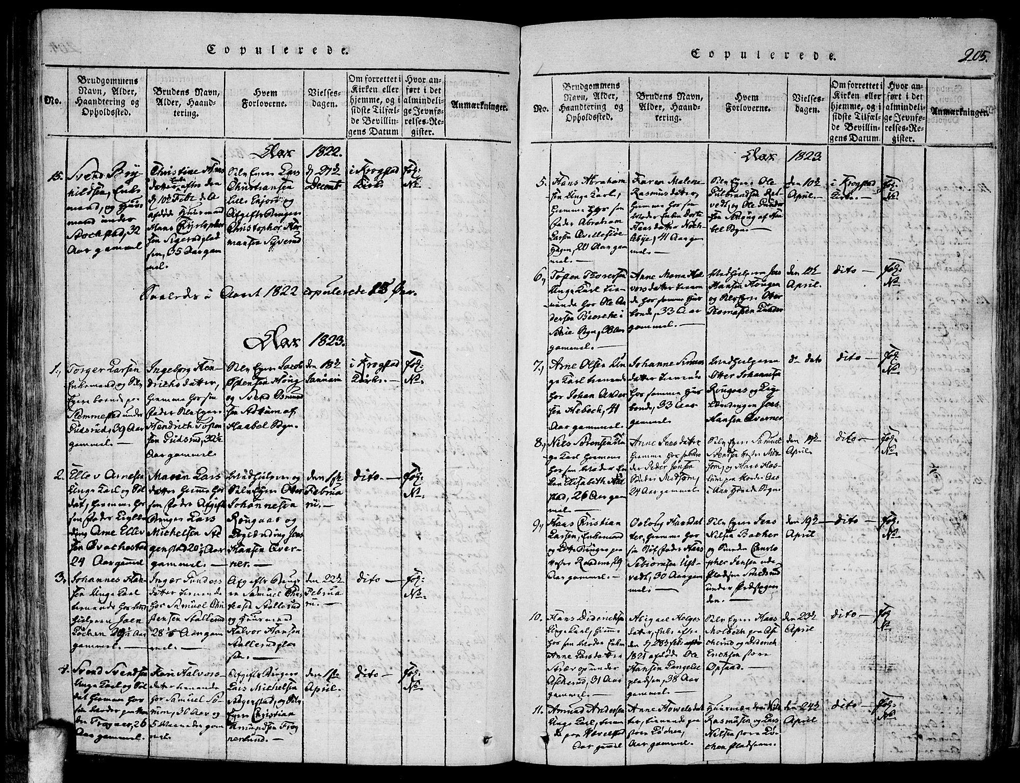 SAO, Kråkstad prestekontor Kirkebøker, F/Fa/L0003: Parish register (official) no. I 3, 1813-1824, p. 205