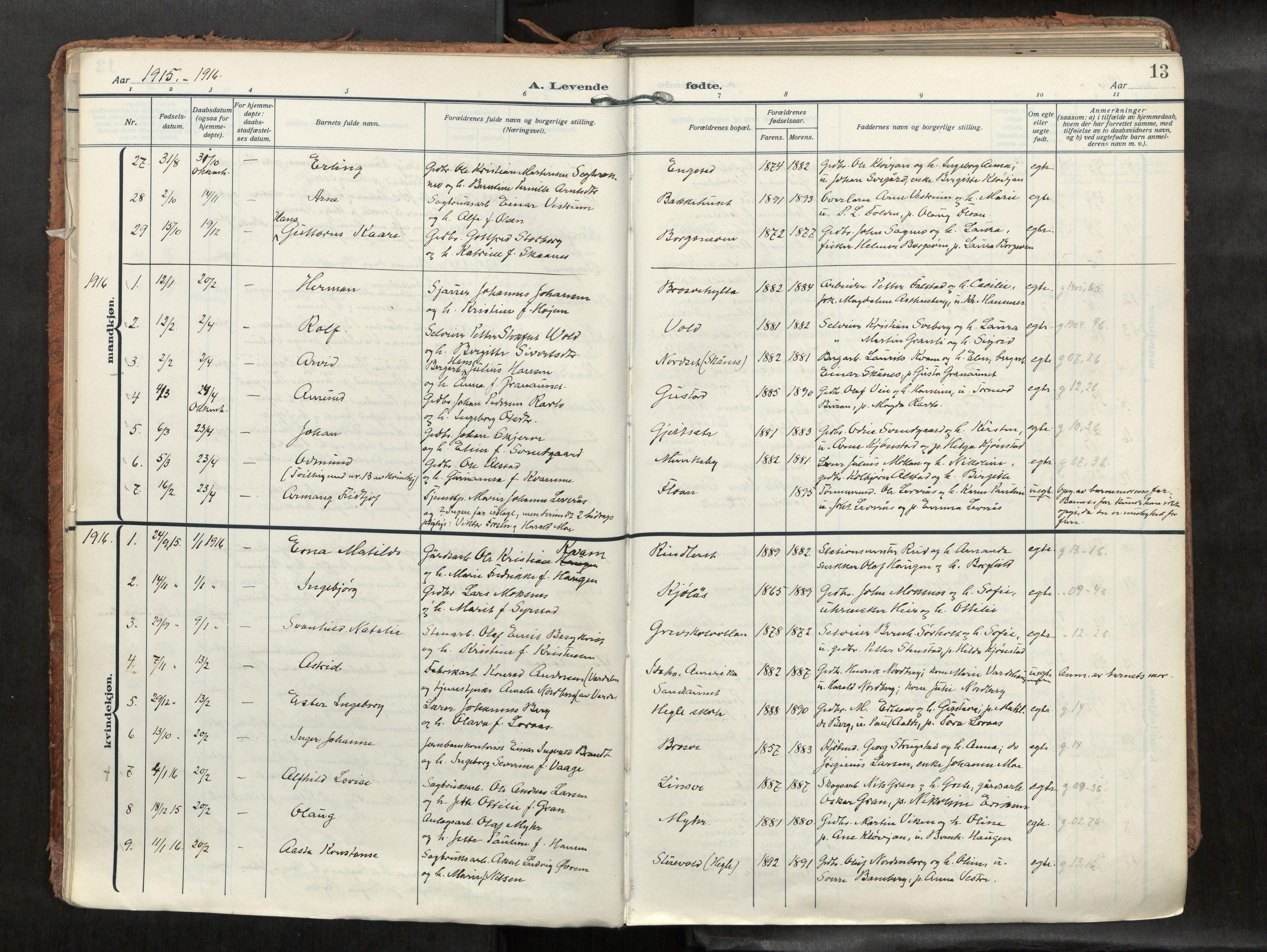 SAT, Levanger sokneprestkontor*, Parish register (official) no. 1, 1912-1935, p. 13