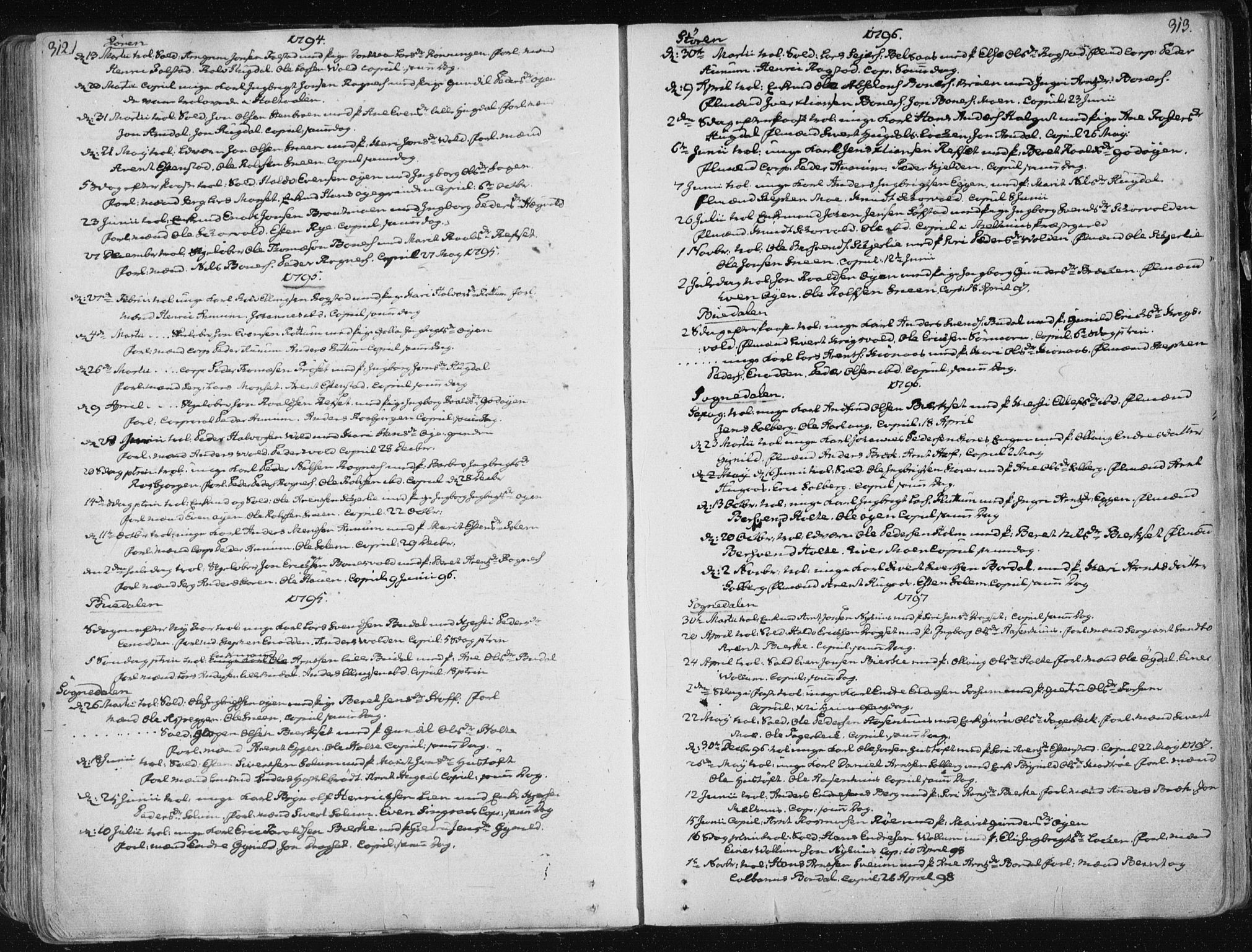 SAT, Ministerialprotokoller, klokkerbøker og fødselsregistre - Sør-Trøndelag, 687/L0992: Parish register (official) no. 687A03 /1, 1788-1815, p. 312-313