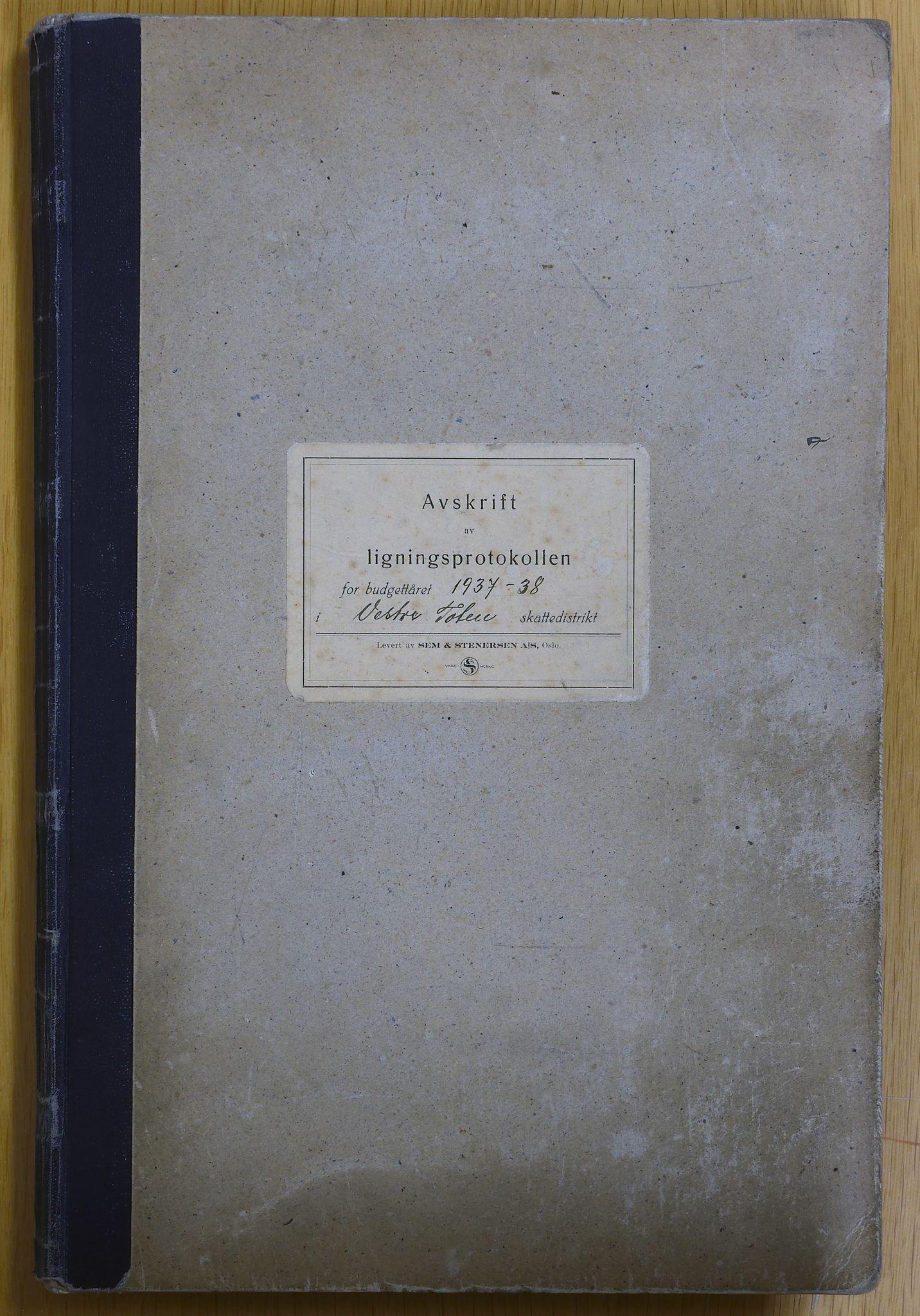 KVT, Vestre Toten municipality archive – Vestre Toten, Tax assessment protocol 1937-1938, 1937-1938