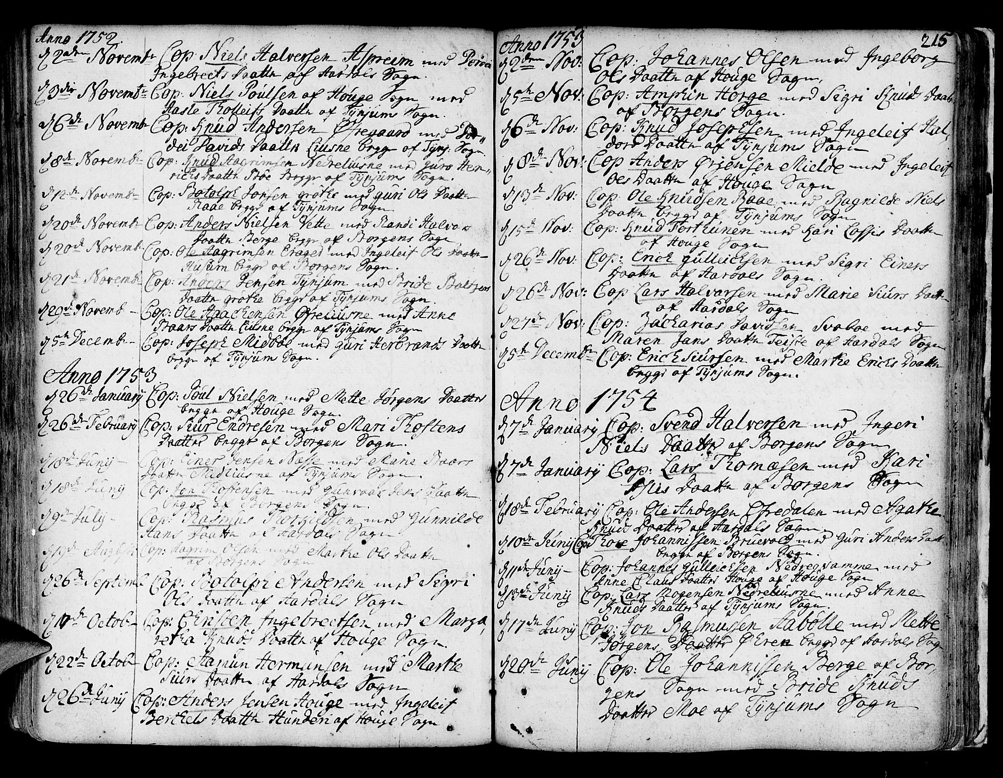SAB, Lærdal sokneprestembete, Parish register (official) no. A 2, 1752-1782, p. 215