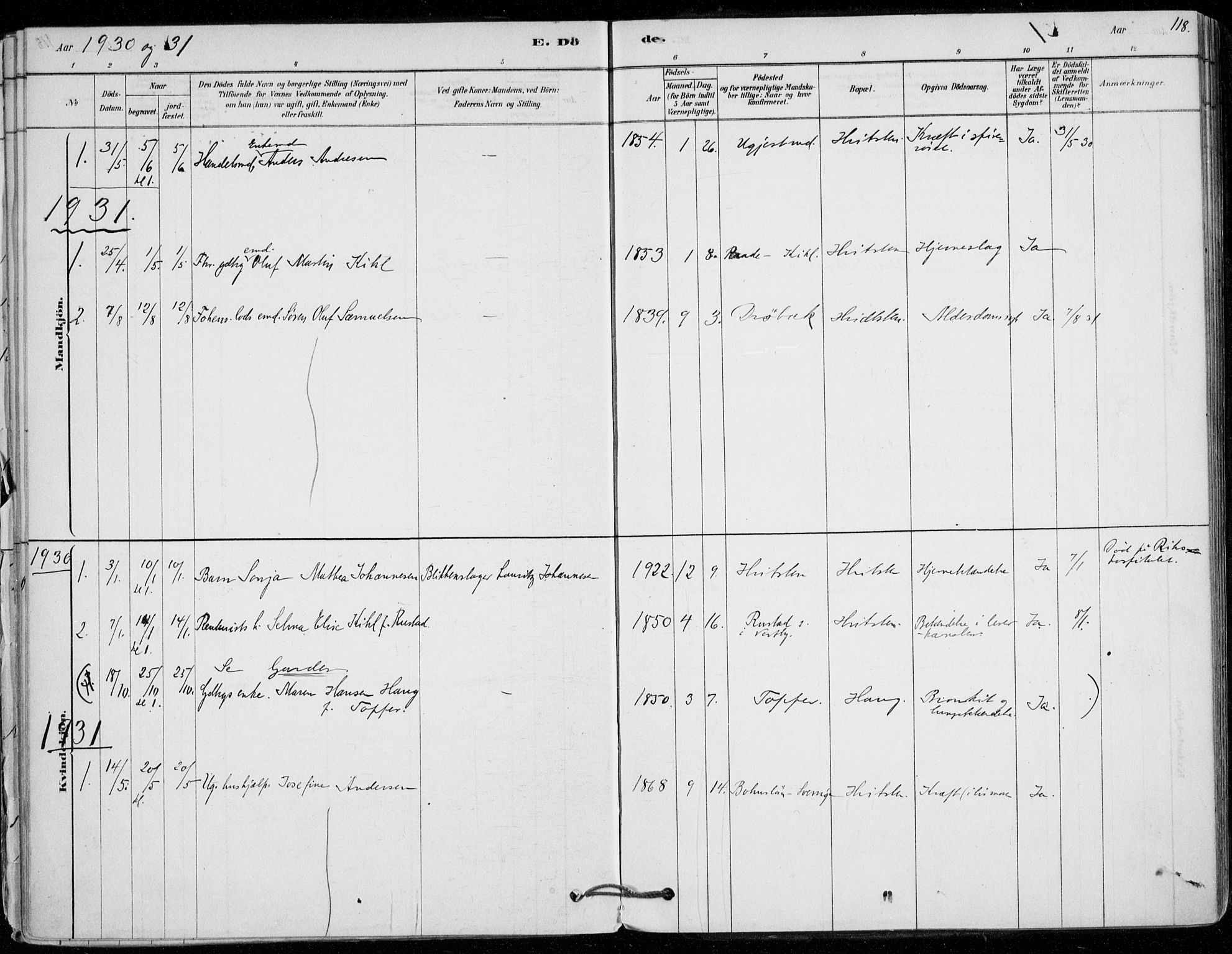 SAO, Vestby prestekontor Kirkebøker, F/Fd/L0001: Parish register (official) no. IV 1, 1878-1945, p. 118