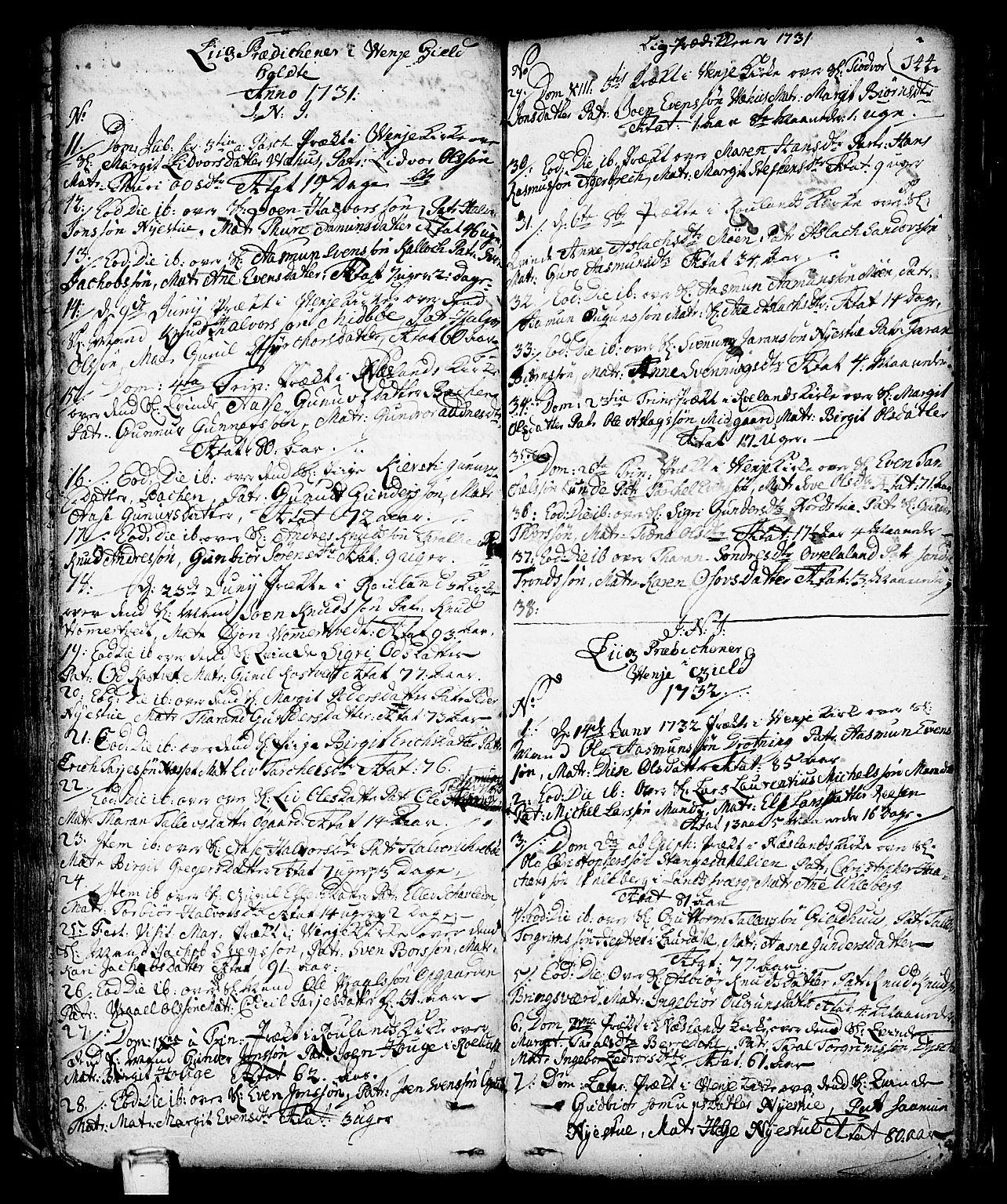 SAKO, Vinje kirkebøker, F/Fa/L0001: Parish register (official) no. I 1, 1717-1766, p. 144