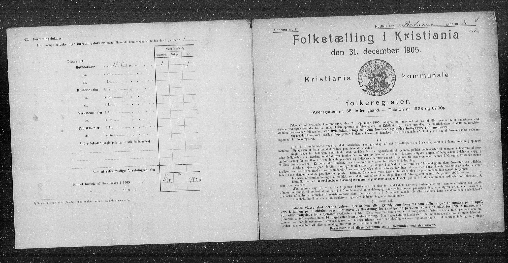 OBA, Municipal Census 1905 for Kristiania, 1905, p. 1711