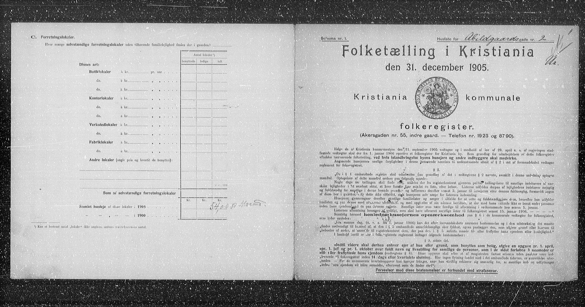 OBA, Municipal Census 1905 for Kristiania, 1905, p. 1