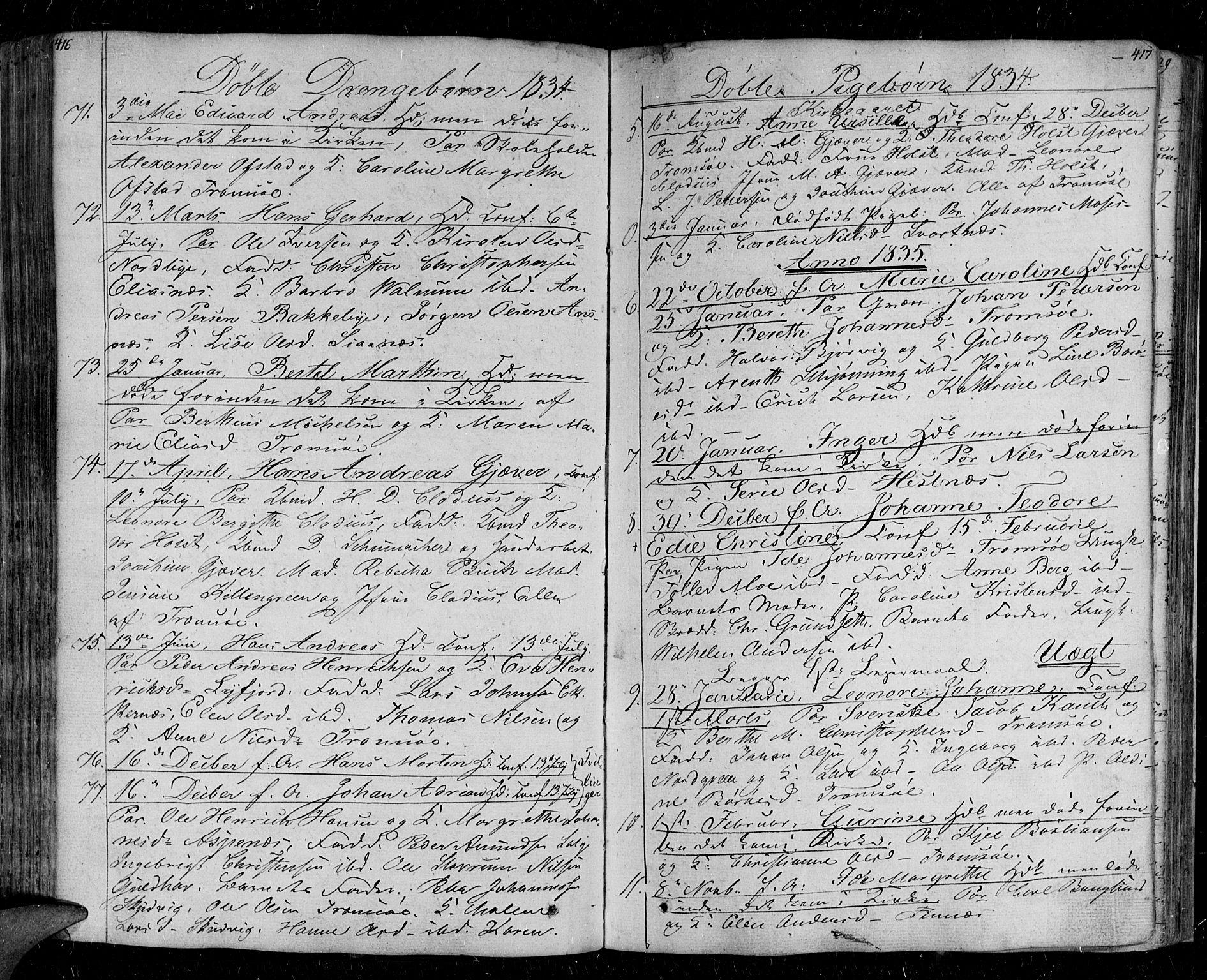 SATØ, Tromsø sokneprestkontor/stiftsprosti/domprosti, G/Ga/L0008kirke: Parish register (official) no. 8, 1829-1837, p. 416-417