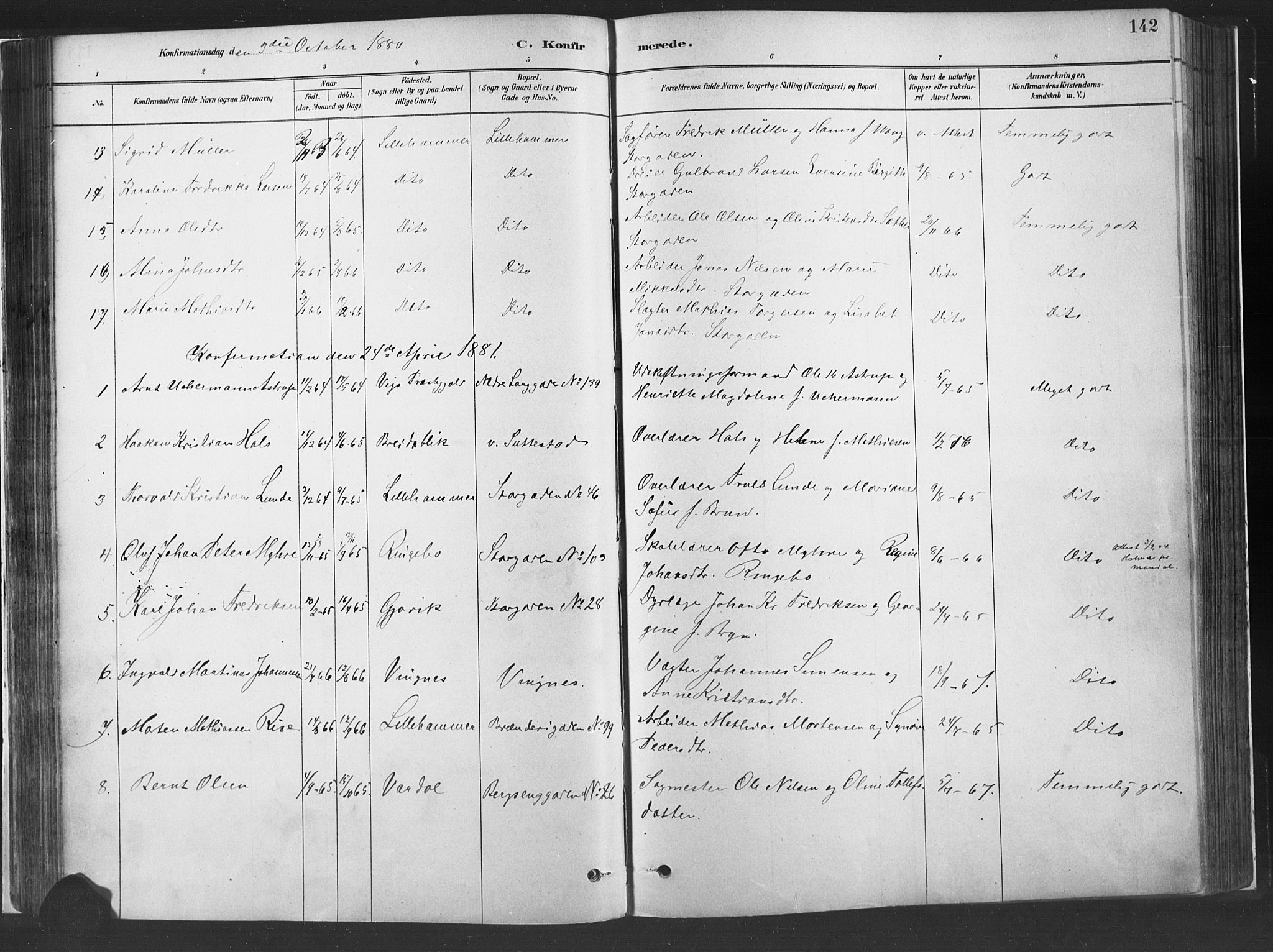 SAH, Fåberg prestekontor, H/Ha/Haa/L0010: Parish register (official) no. 10, 1879-1900, p. 142