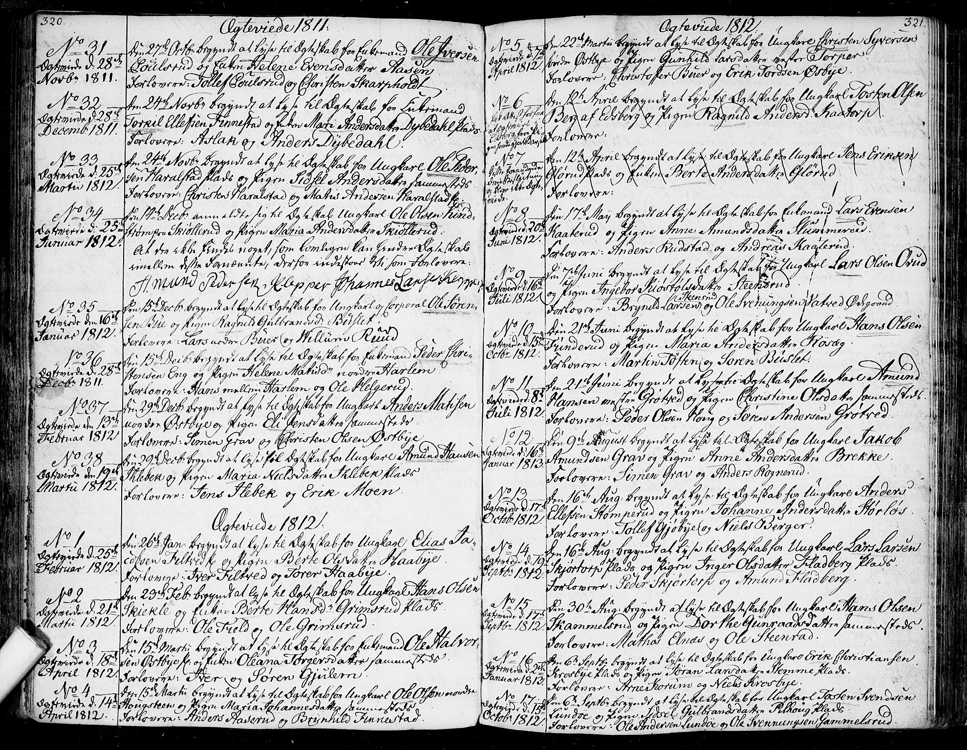 SAO, Rakkestad prestekontor Kirkebøker, F/Fa/L0005: Parish register (official) no. I 5, 1784-1814, p. 320-321