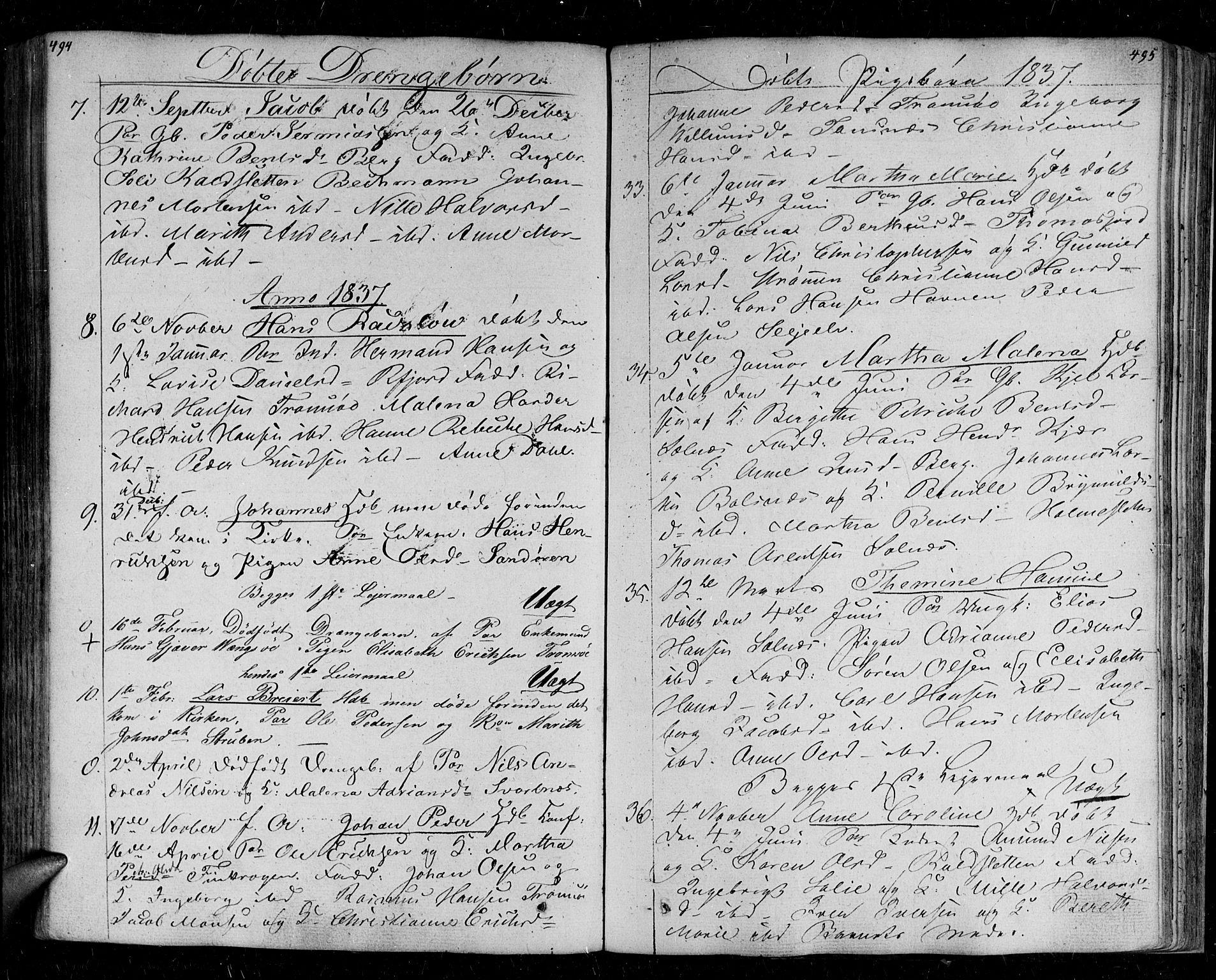 SATØ, Tromsø sokneprestkontor/stiftsprosti/domprosti, G/Ga/L0008kirke: Parish register (official) no. 8, 1829-1837, p. 494-495