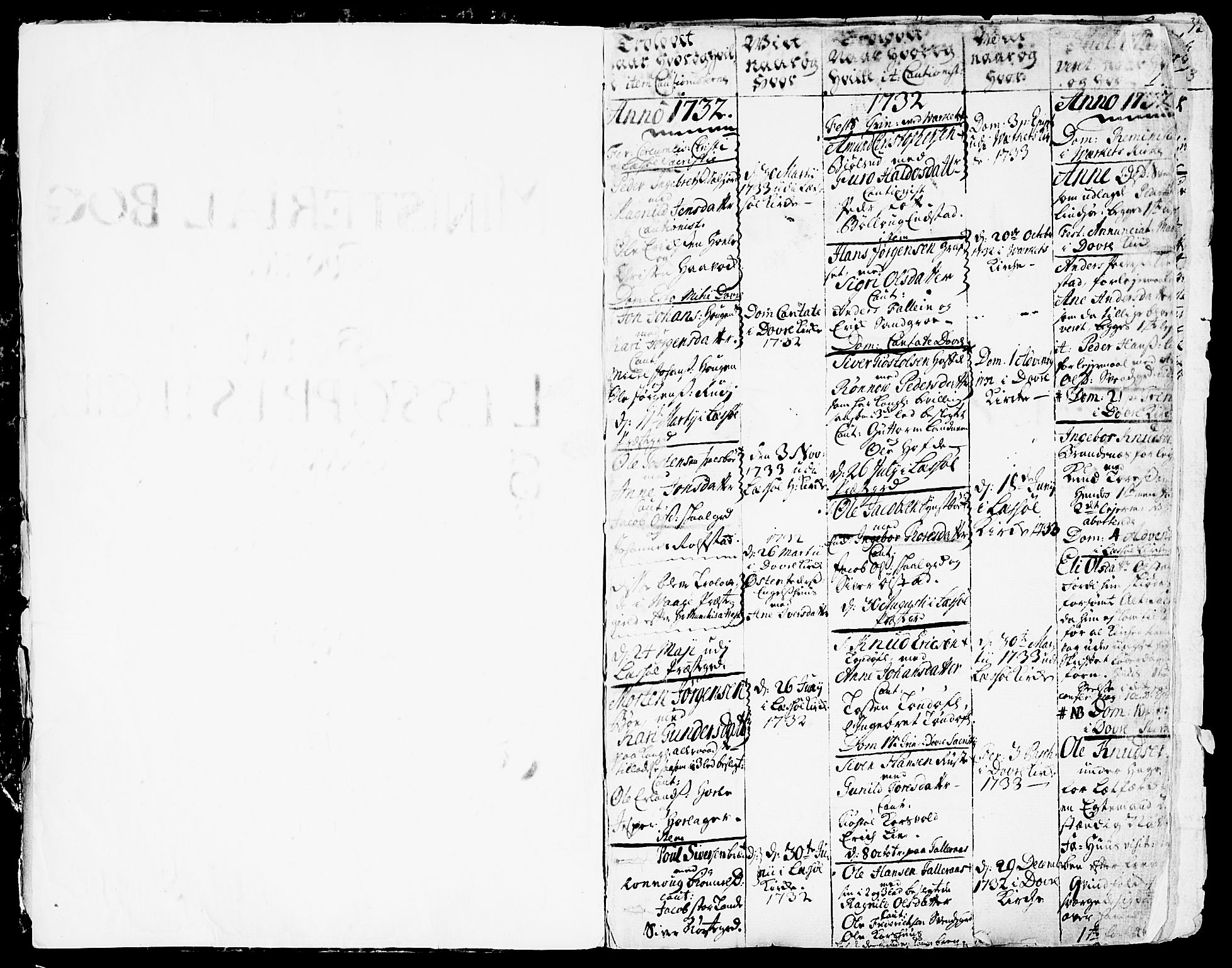 SAH, Lesja prestekontor, Parish register (official) no. 2, 1732-1776, p. 0-1