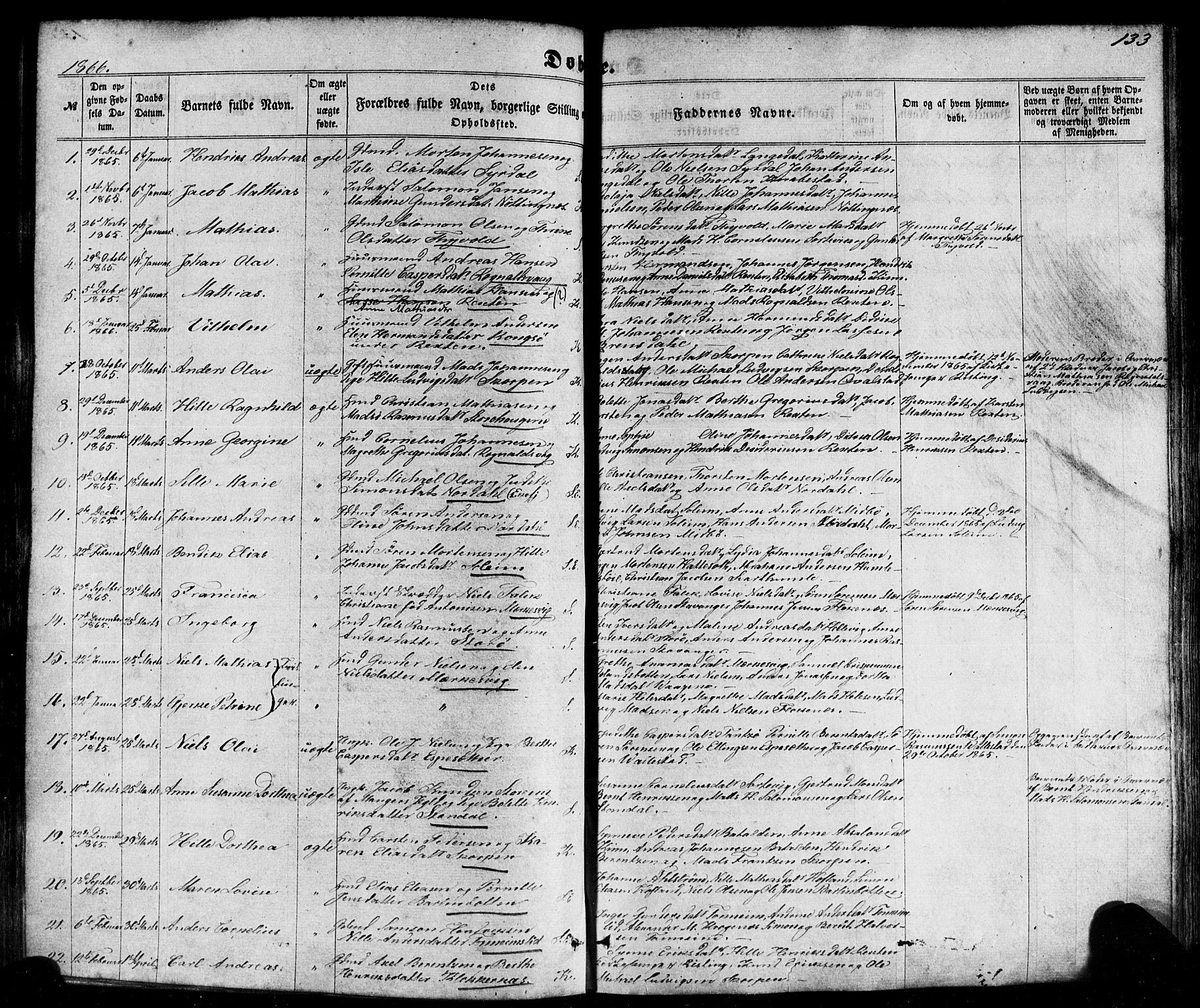 SAB, Kinn sokneprestembete, H/Haa/Haaa/L0006: Parish register (official) no. A 6, 1857-1885, p. 133