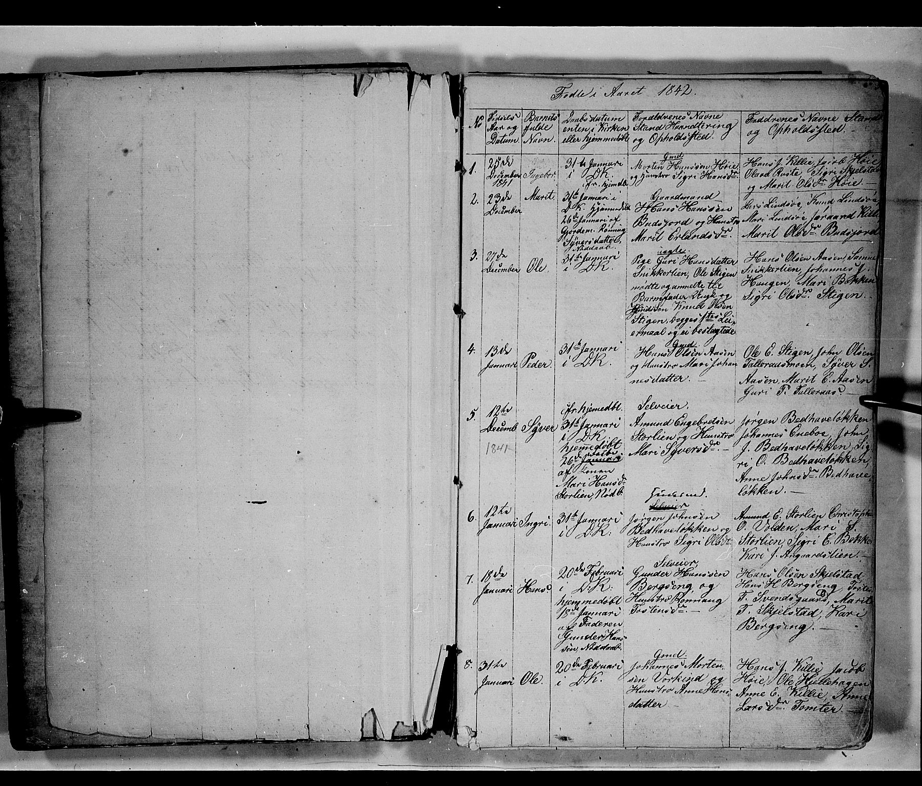 SAH, Lesja prestekontor, Parish register (copy) no. 3, 1842-1862, p. 2-3