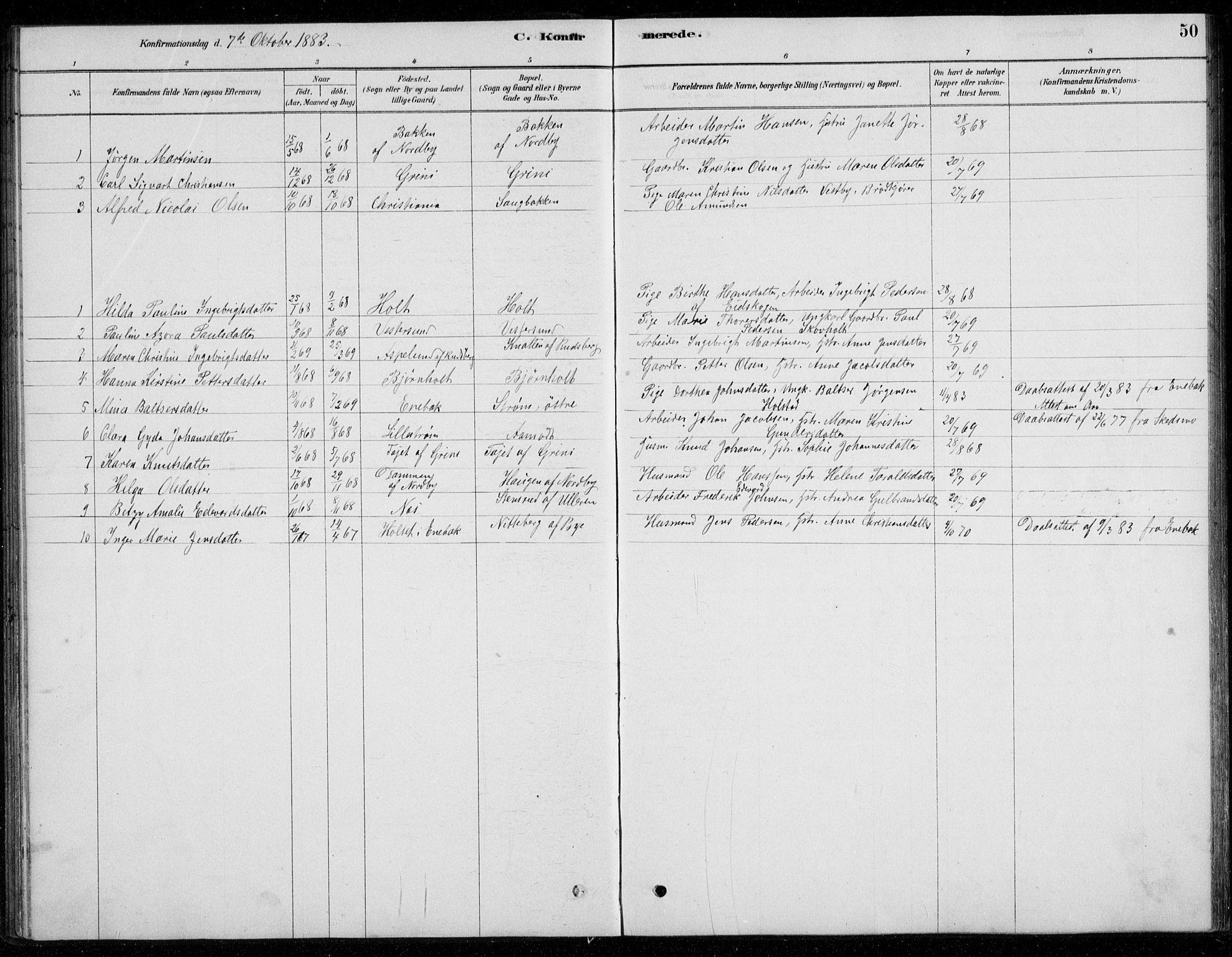 SAO, Fet prestekontor Kirkebøker, G/Gb/L0002: Parish register (copy) no. II 2, 1878-1911, p. 50