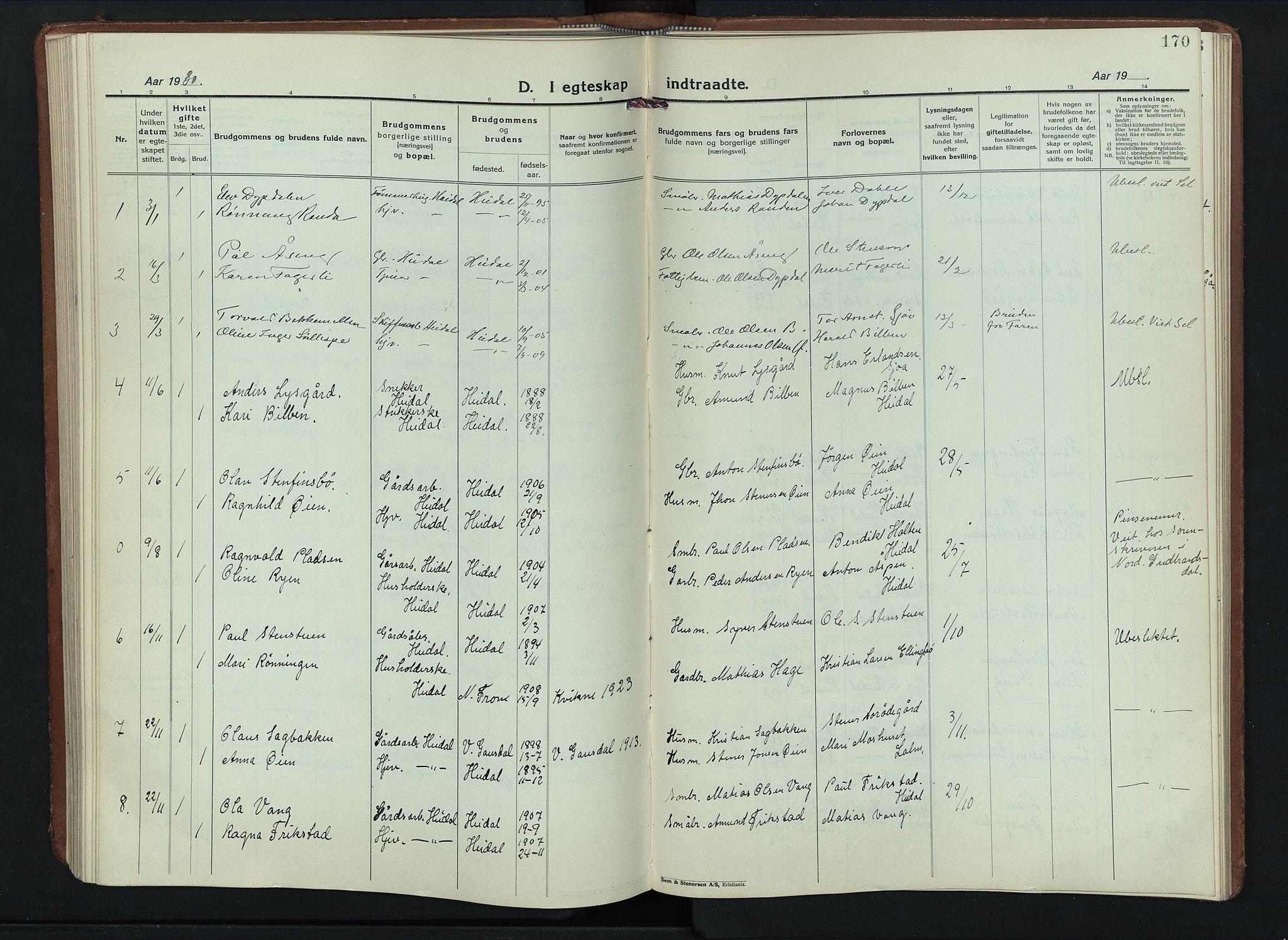 SAH, Sel prestekontor, Parish register (copy) no. 6, 1923-1953, p. 170