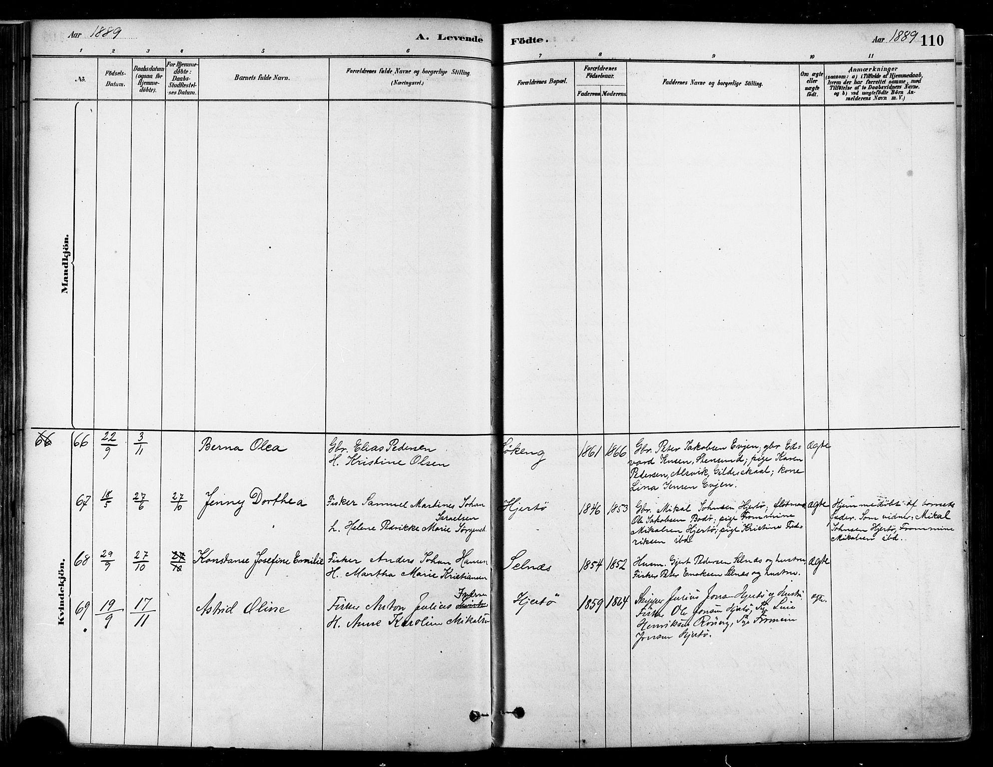 SAT, Ministerialprotokoller, klokkerbøker og fødselsregistre - Nordland, 802/L0054: Parish register (official) no. 802A01, 1879-1893, p. 110