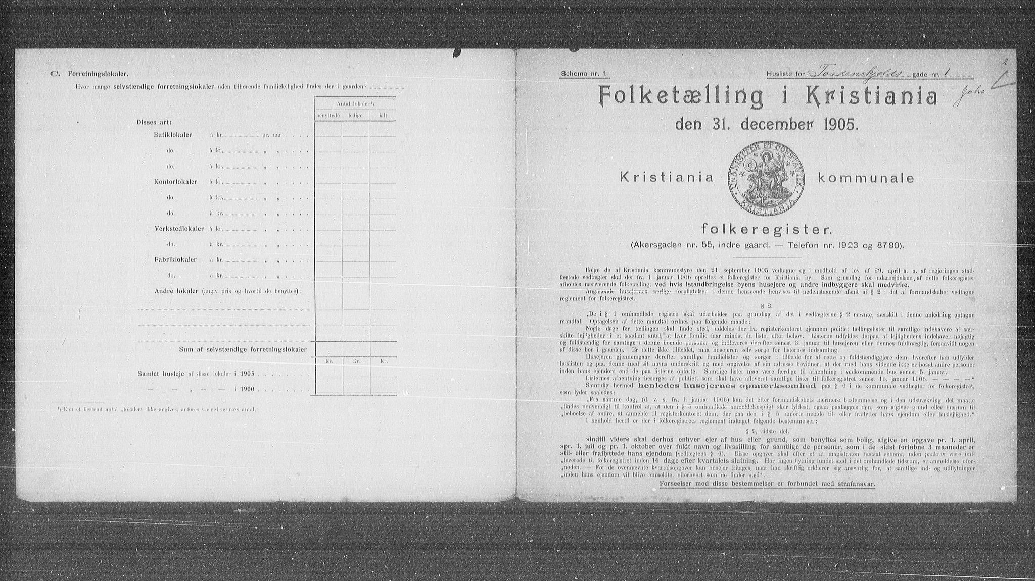 OBA, Municipal Census 1905 for Kristiania, 1905, p. 59653