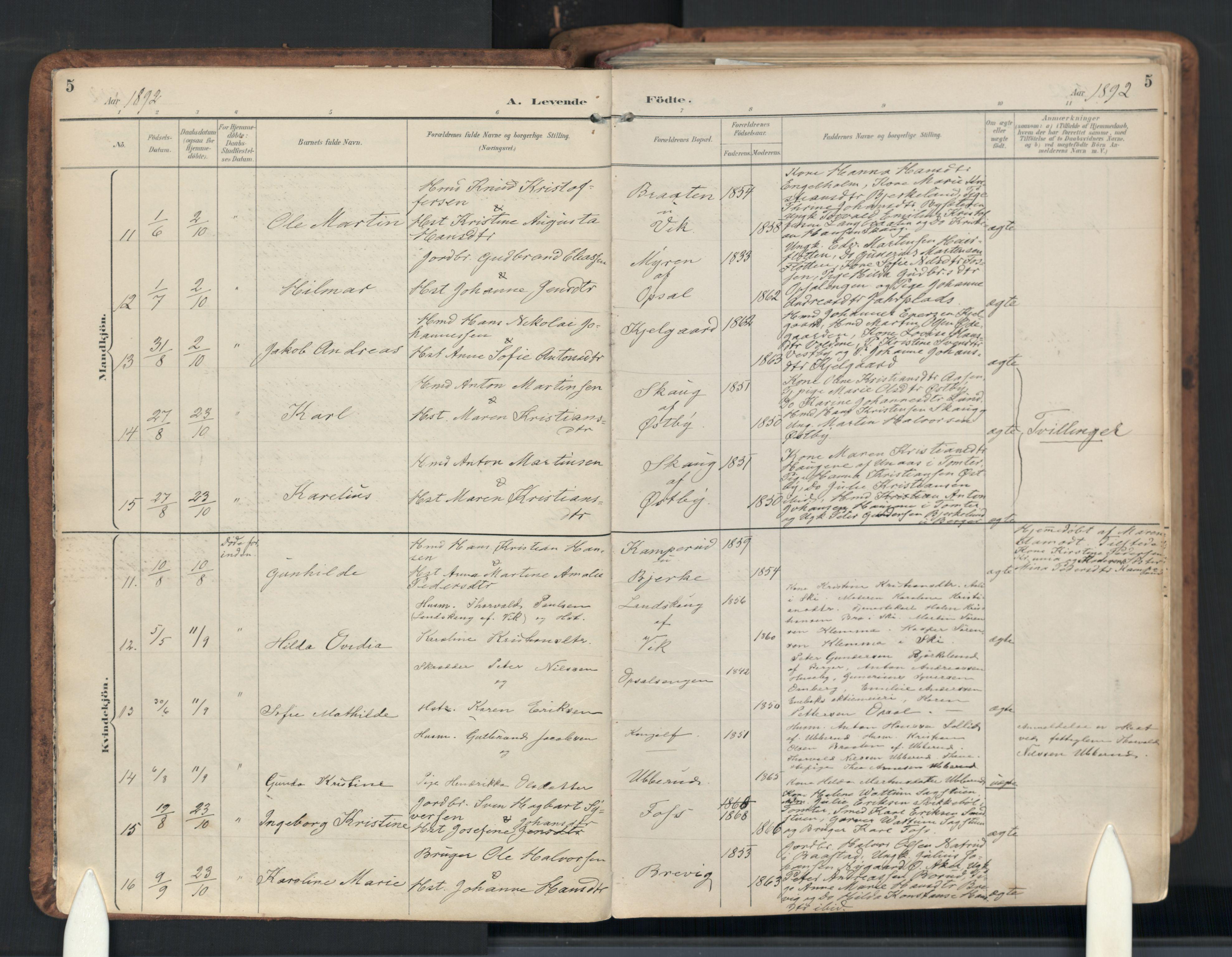 SAO, Enebakk prestekontor Kirkebøker, F/Fb/L0002: Parish register (official) no. II 2, 1891-1959, p. 5