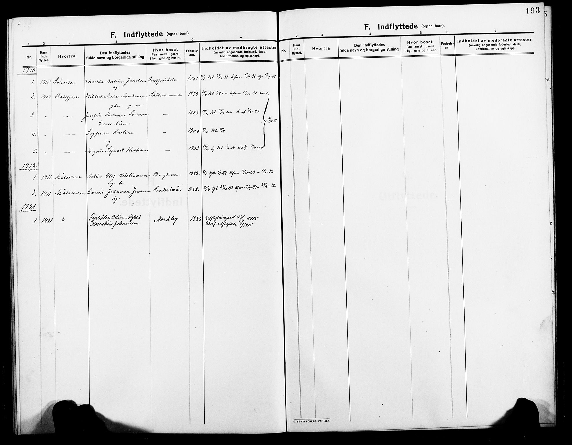 SATØ, Balsfjord sokneprestembete, Parish register (copy) no. 4, 1910-1926, p. 193