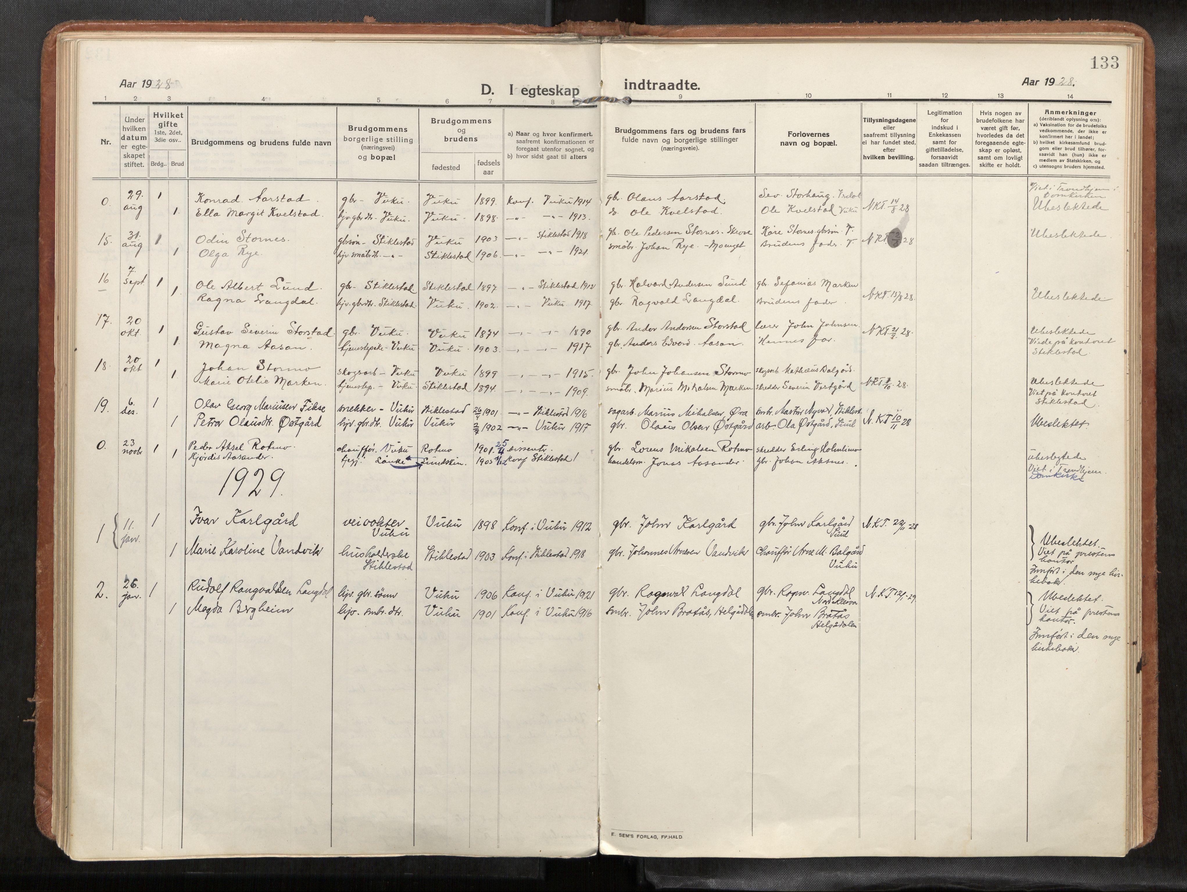 SAT, Verdal sokneprestkontor*, Parish register (official) no. 1, 1916-1928, p. 133