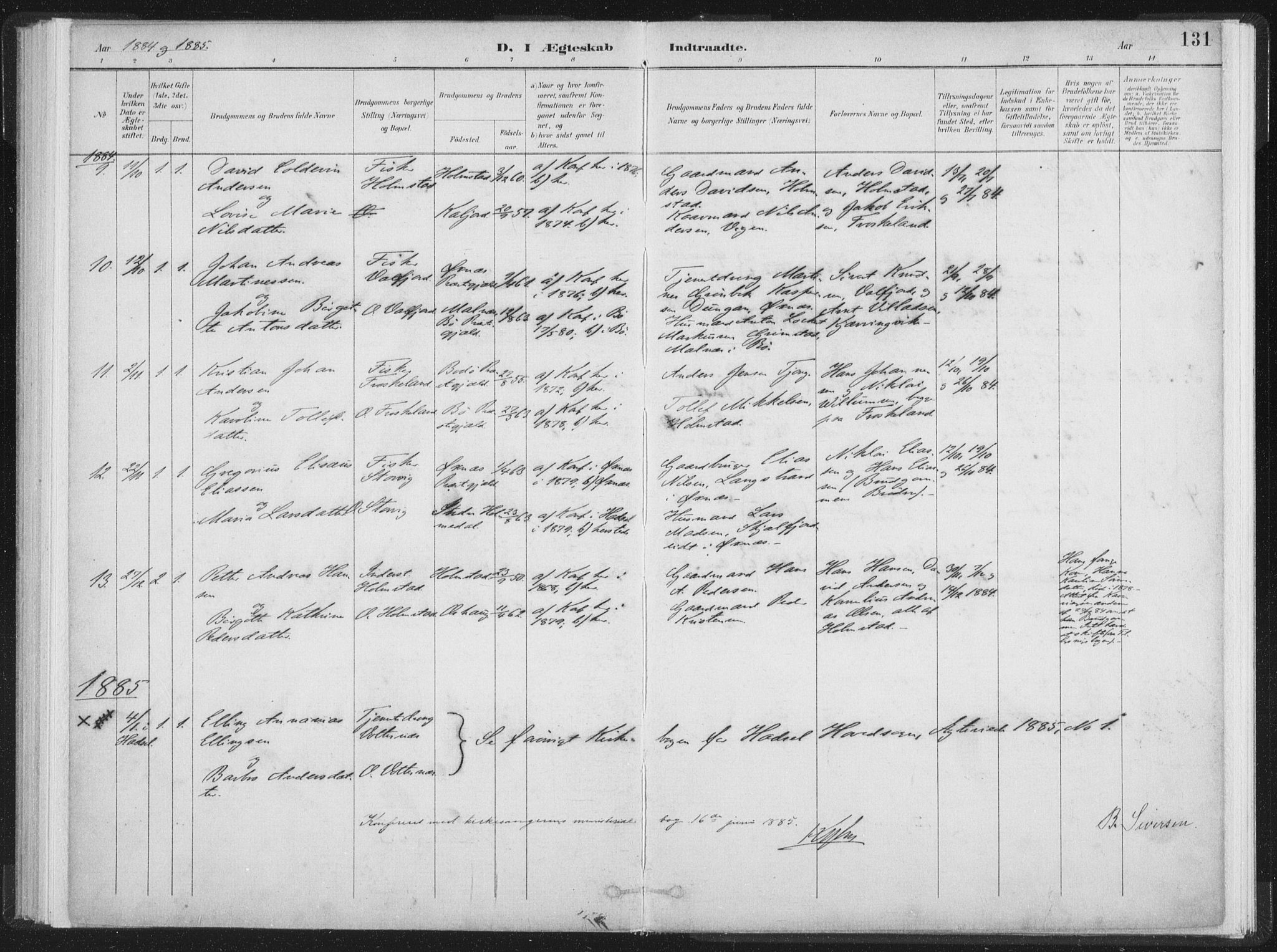 SAT, Ministerialprotokoller, klokkerbøker og fødselsregistre - Nordland, 890/L1286: Parish register (official) no. 890A01, 1882-1902, p. 131