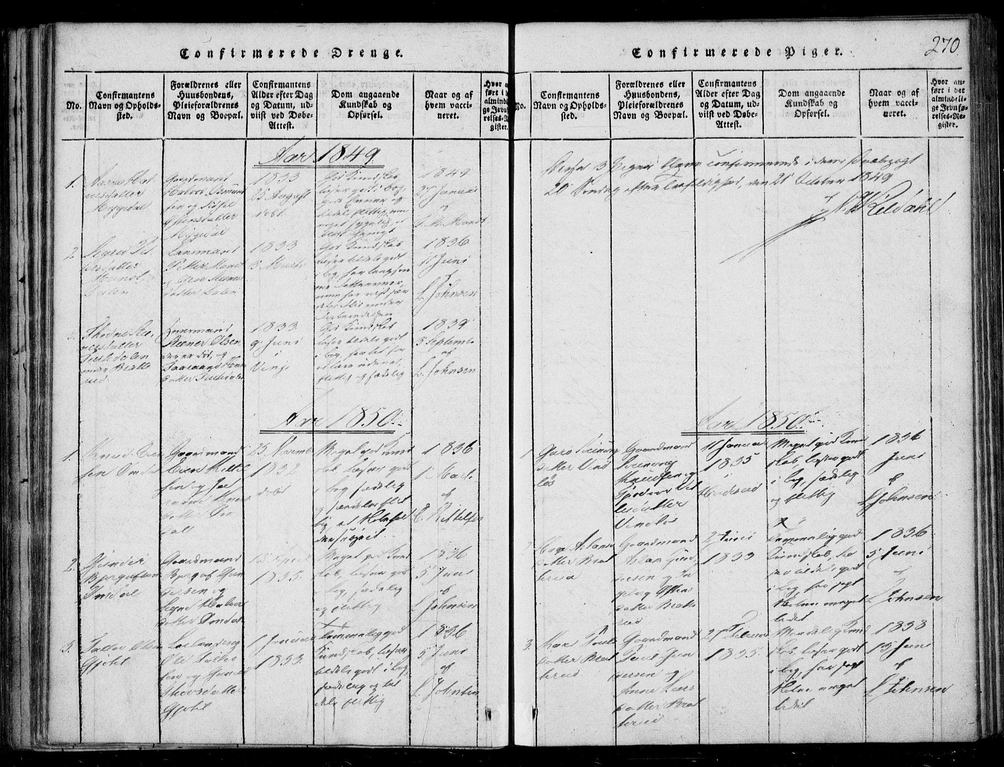 SAKO, Lårdal kirkebøker, F/Fb/L0001: Parish register (official) no. II 1, 1815-1860, p. 270