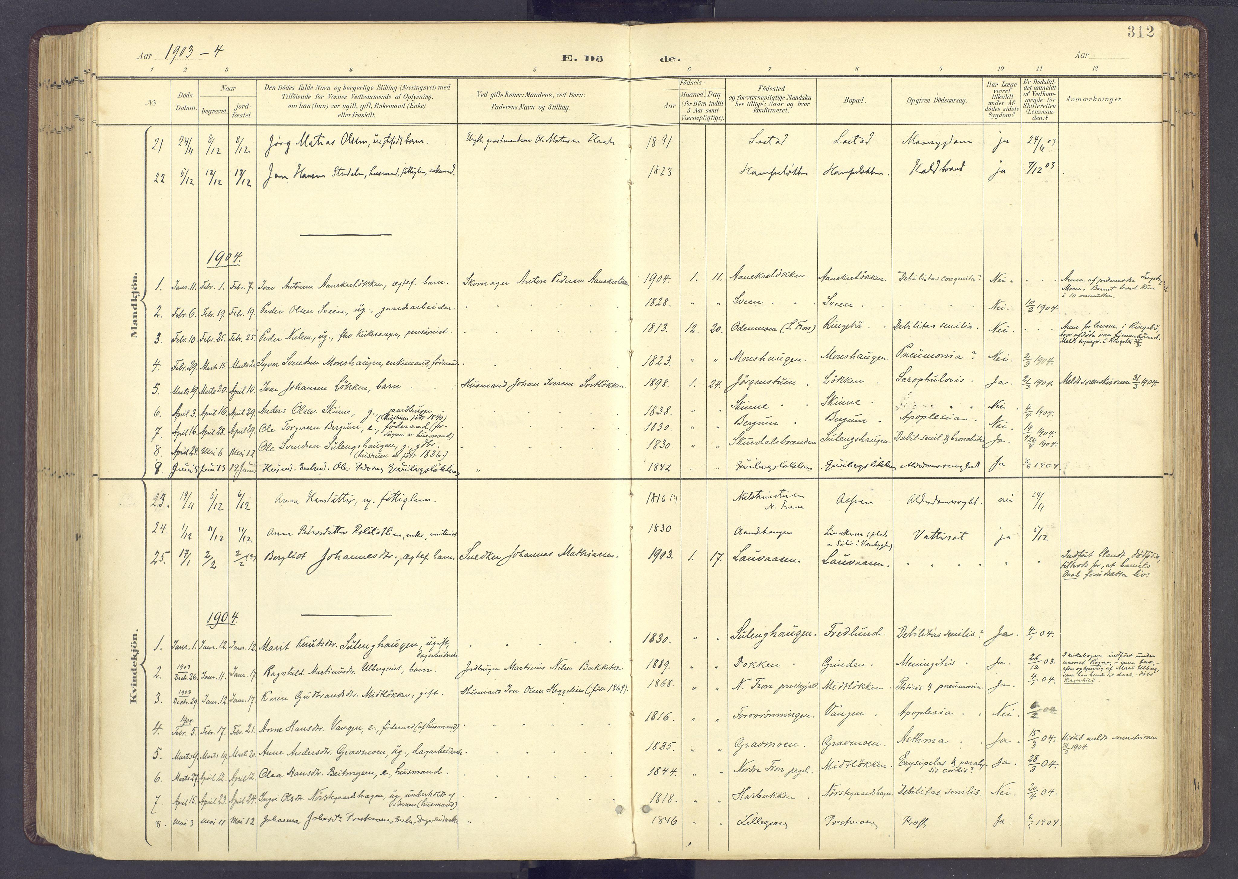 SAH, Sør-Fron prestekontor, H/Ha/Haa/L0004: Parish register (official) no. 4, 1898-1919, p. 312