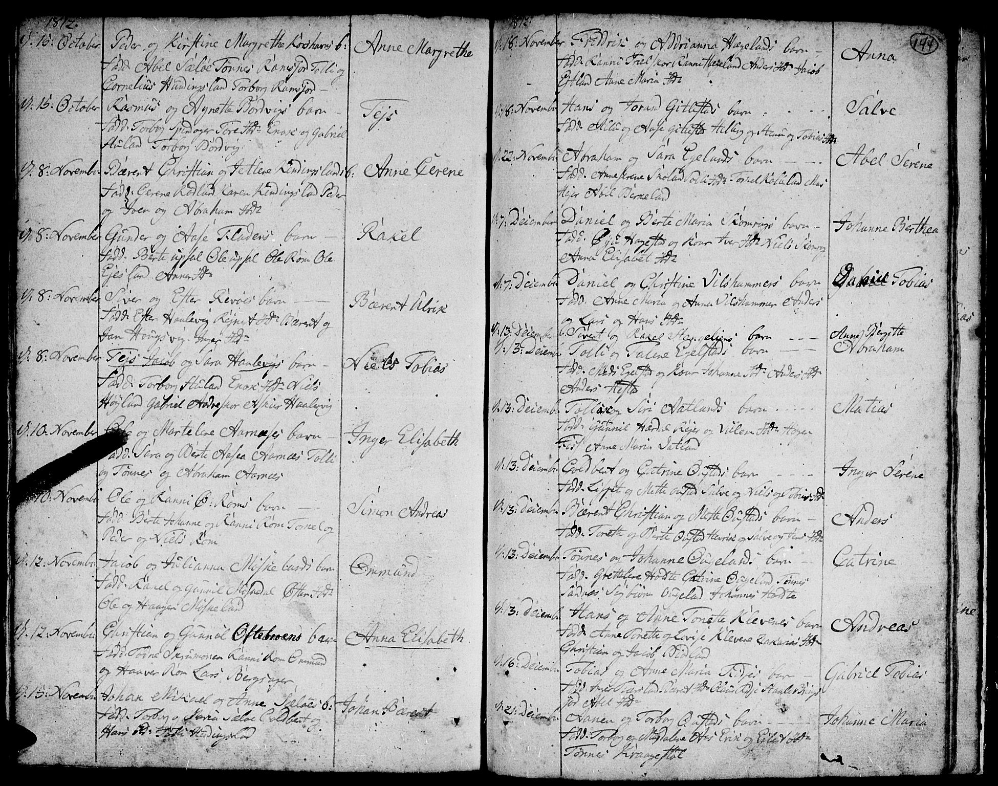 SAK, Lyngdal sokneprestkontor, F/Fa/Fac/L0004: Parish register (official) no. A 4, 1780-1815, p. 144