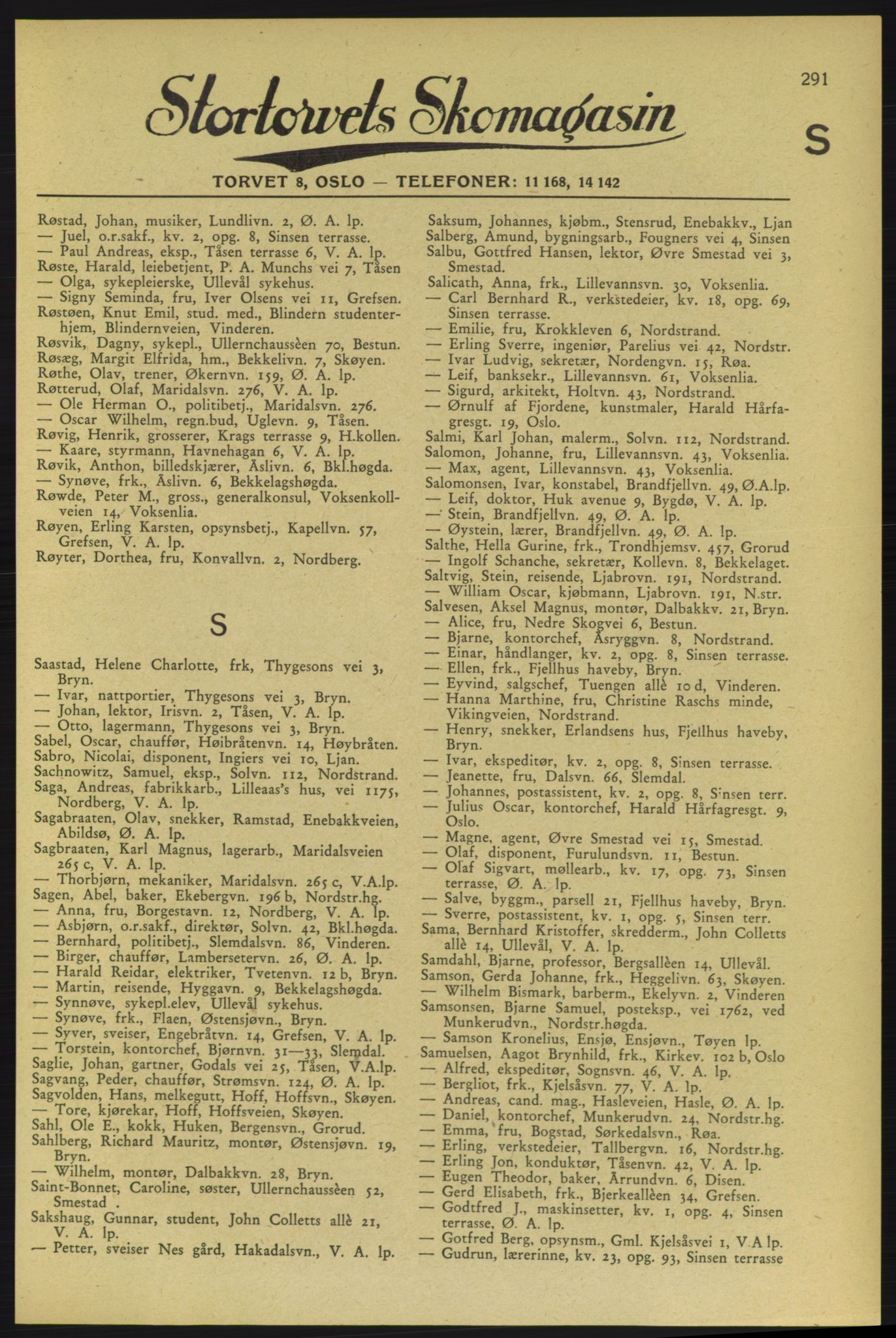RA, Aker adressebok/adressekalender (publikasjon)*, 1937-1938, p. 291